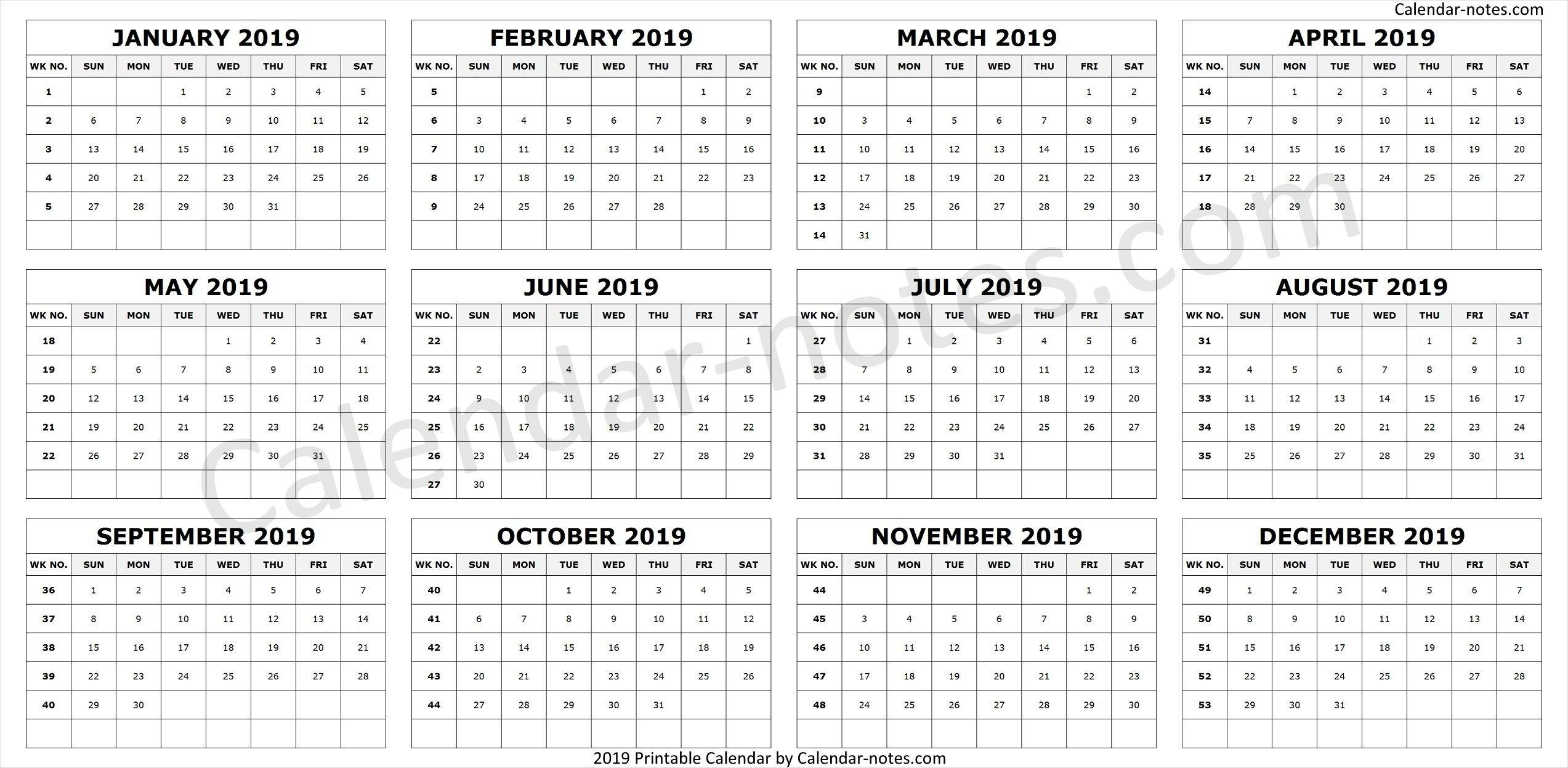 Calendar 2019Week Numbers | Calendar 2019 With Week Numbers Calendar 2019 Excel With Week Numbers