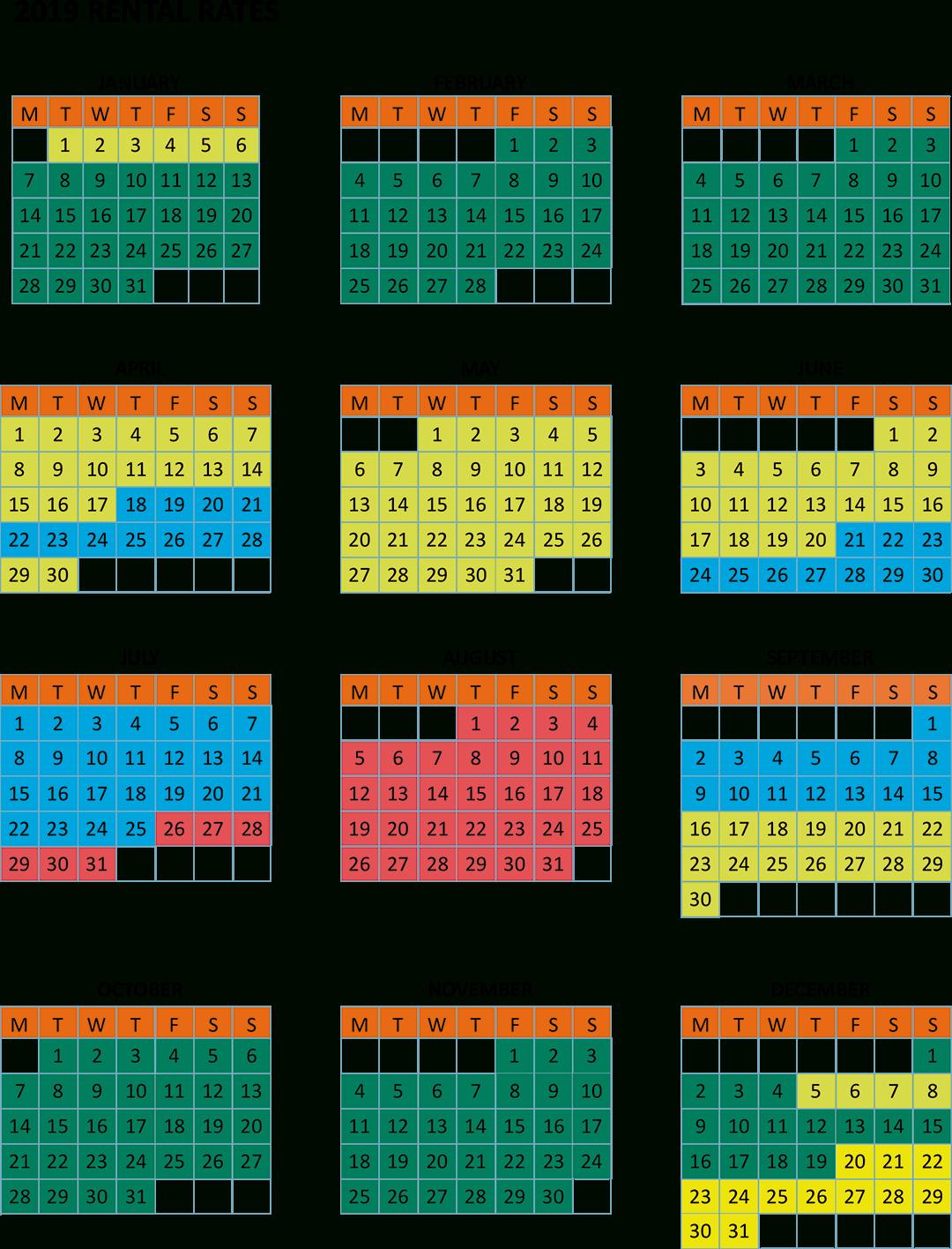 Calendar And Rates Calendar 2019 Rates