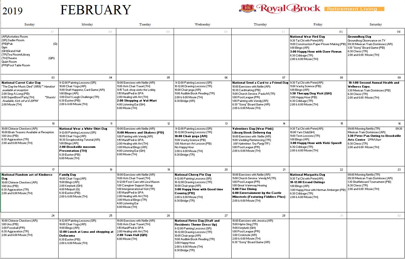 Calendar Archives | Royal Brock: Brockville Retirement Residence And 9/80 Calendar 2019