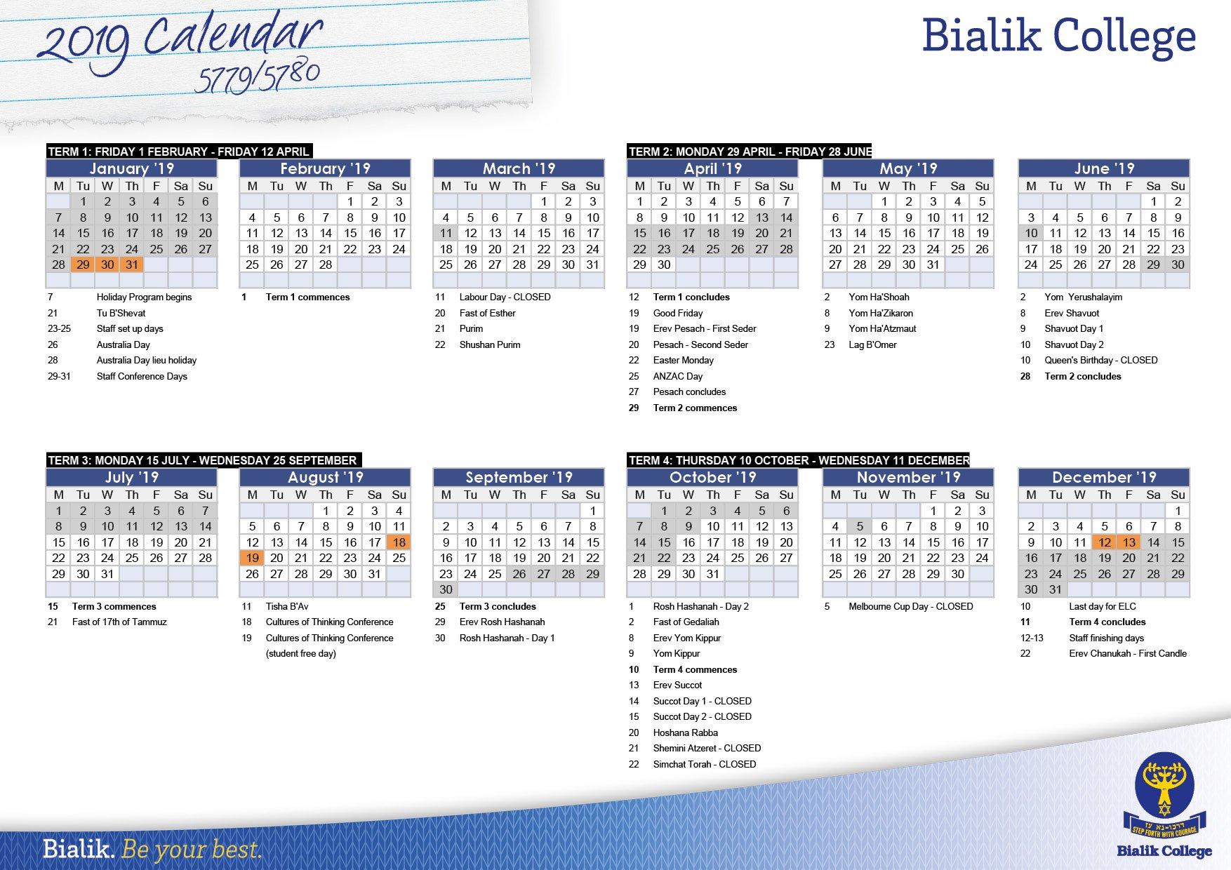 Calendar – Bialik Term 1 Calendar 2019