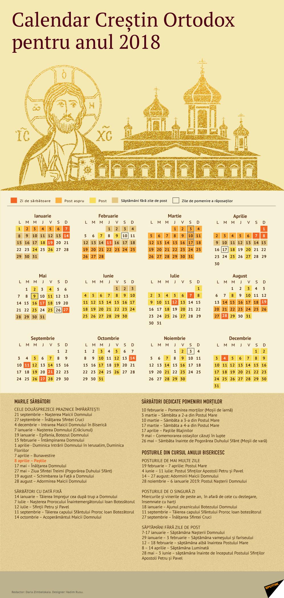 Calendar Creștin Ortodox 2018 Calendar 2019 Ortodox