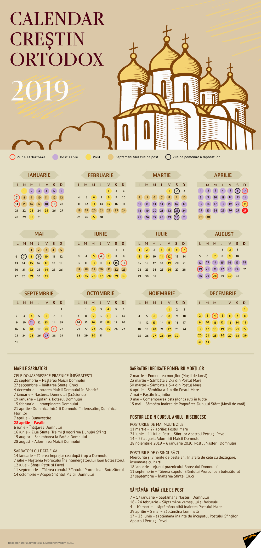 Calendar Creștin Ortodox 2019 - Stil Vechi Calendar 0Rtodox 2019