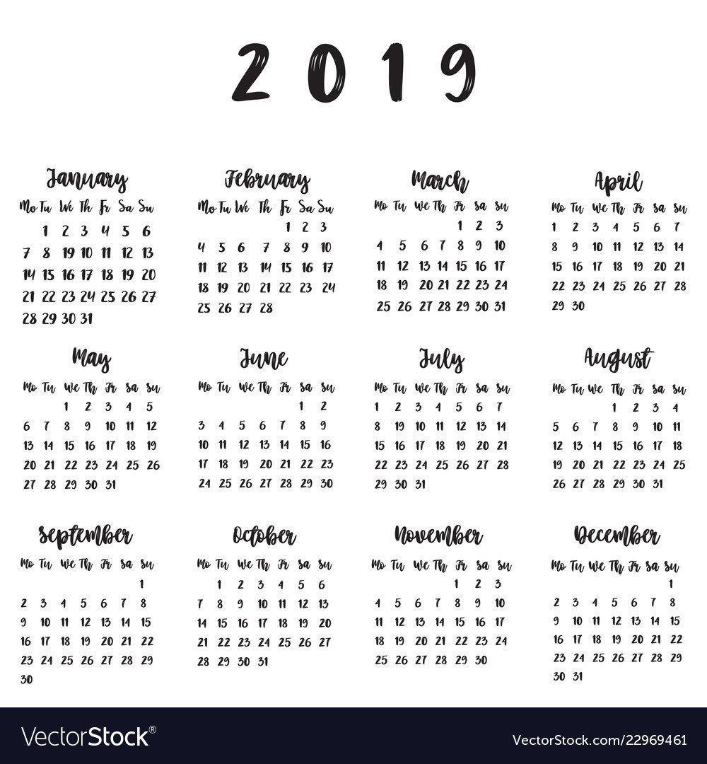 Calendar For 2019 Royalty Free Vector Image – Vectorstock Calendar 2019 Vector