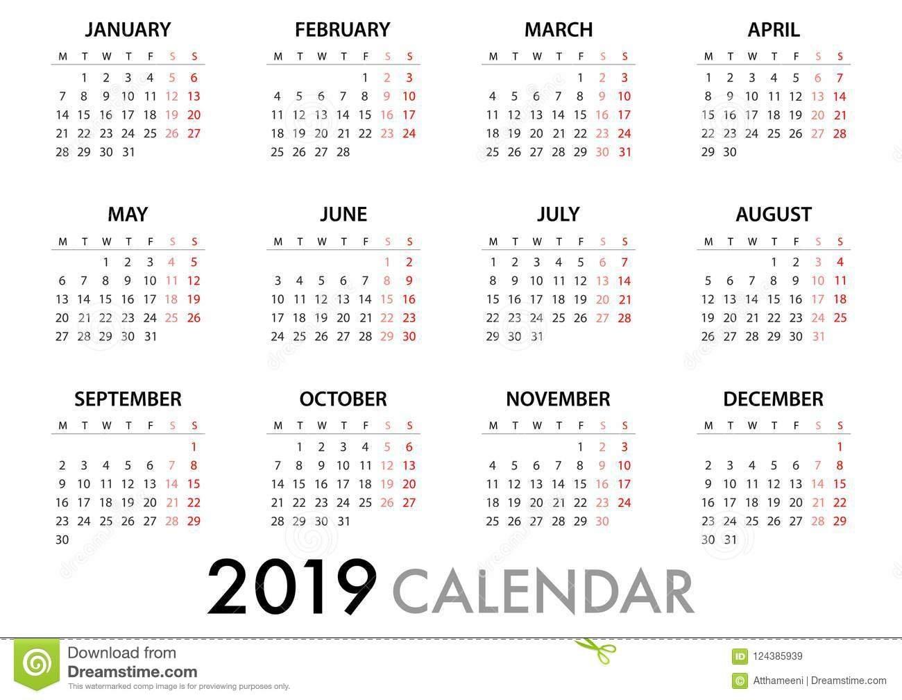 Calendar For 2019 Week Starts Monday. Simple Vector Template Stock Calendar Week 9 2019