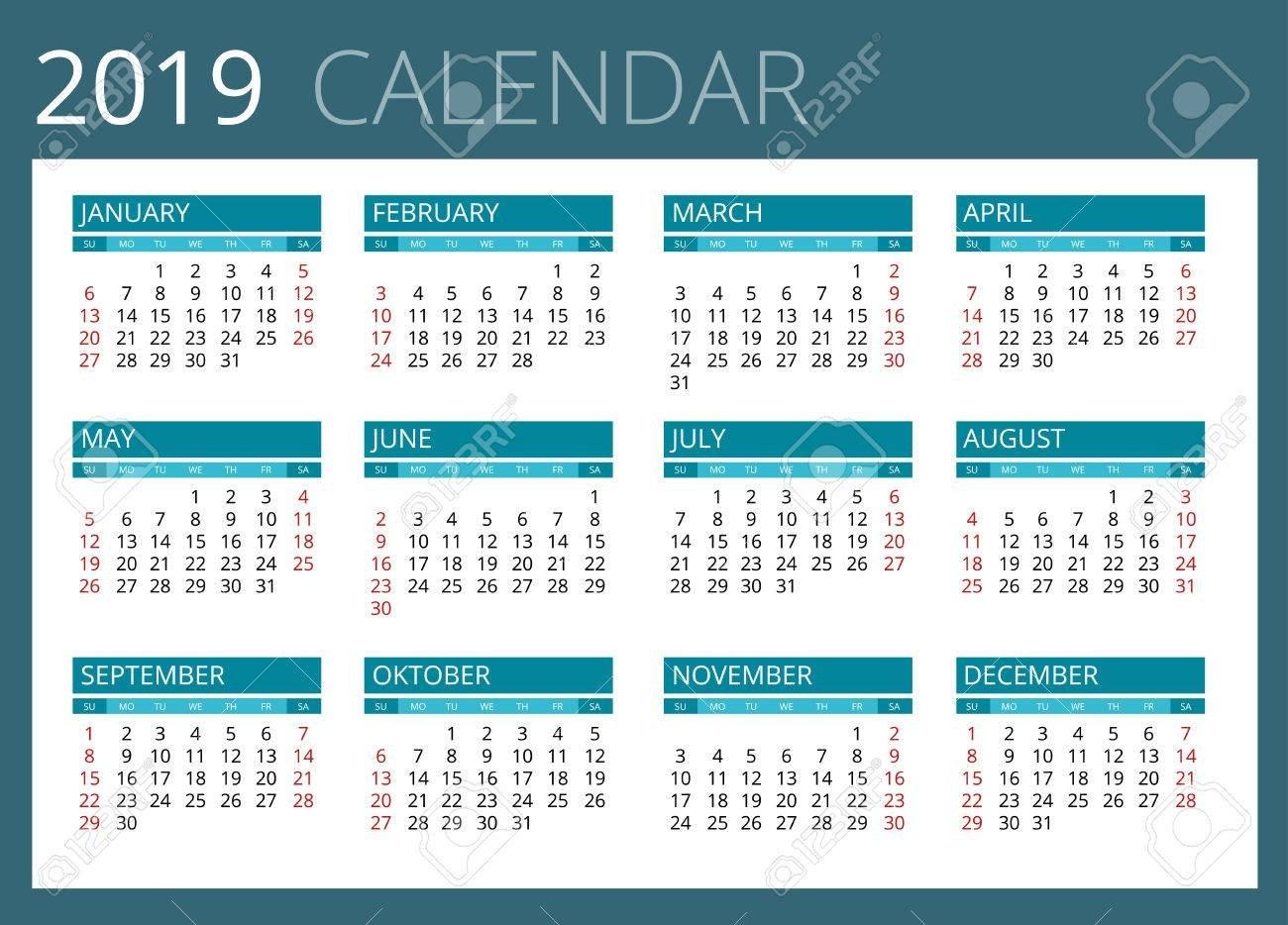 Calendar For 2019. Week Starts Sunday. Simple Vector Design Royalty Calendar Week 14 2019