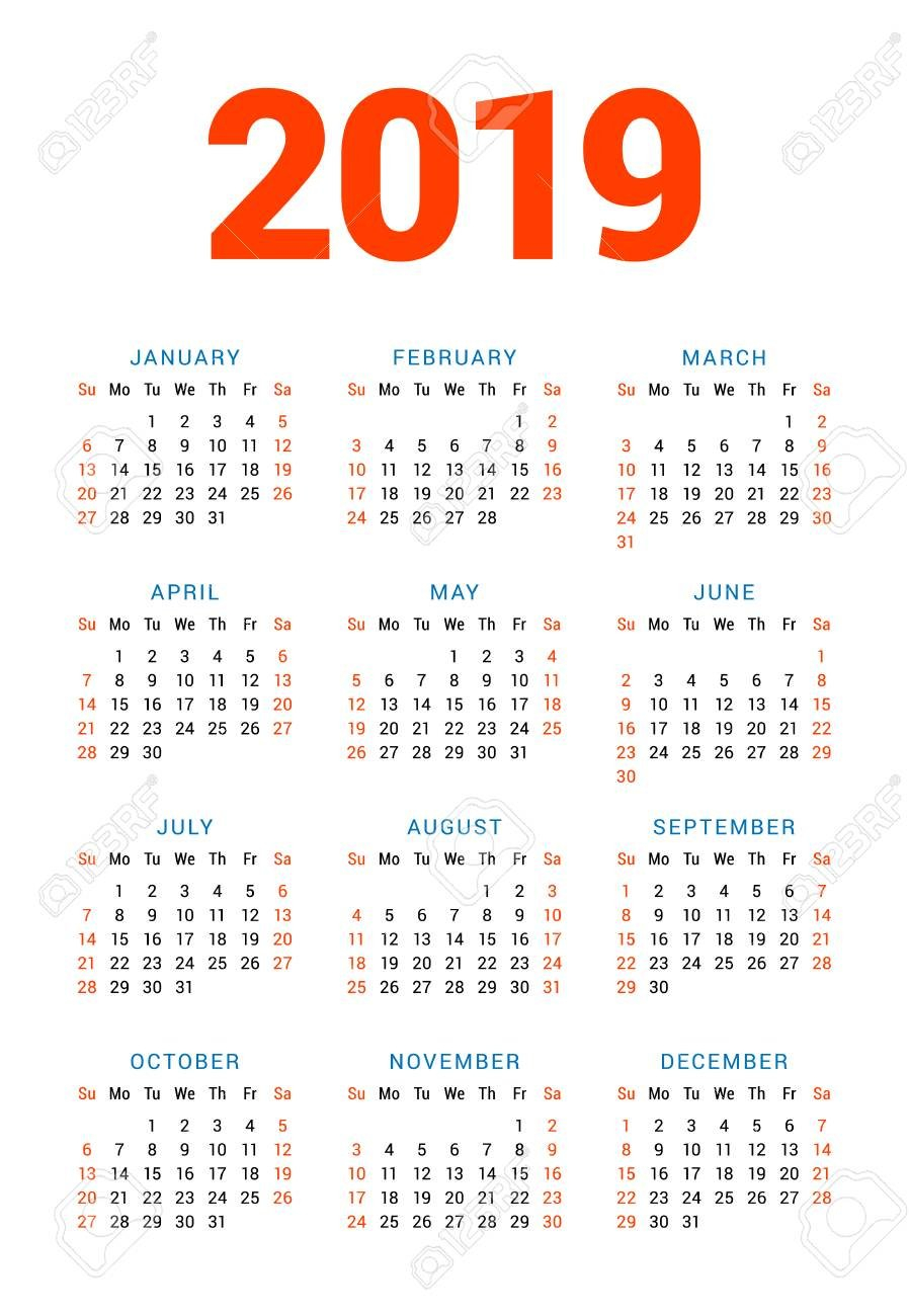 Calendar For 2019 Year On White Background. Week Starts On Sunday 5 Column Calendar 2019