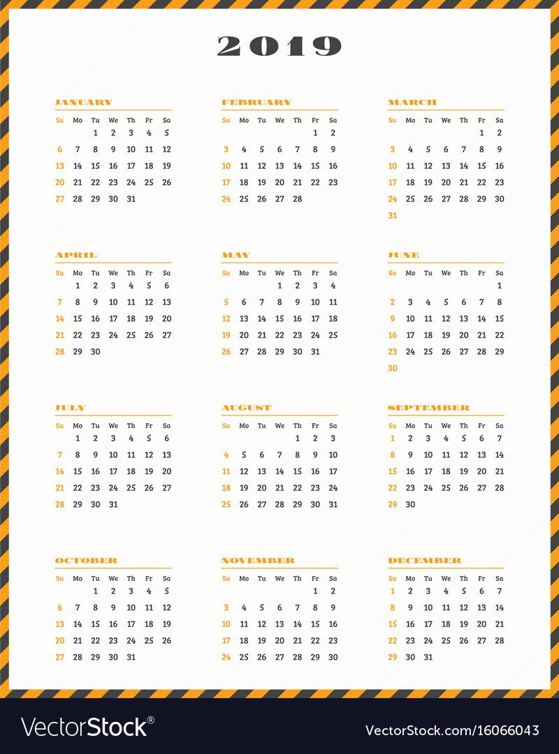 Calendar For 2019 Year Week Starts Sunday Vector Image Calendar Week 43 2019