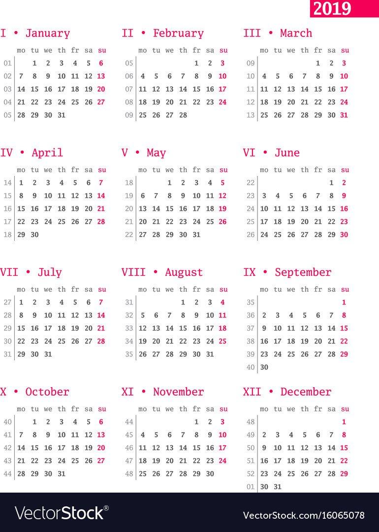 Calendar For 2019 Year With Week Numbers On White Vector Image Calendar Week 30 2019