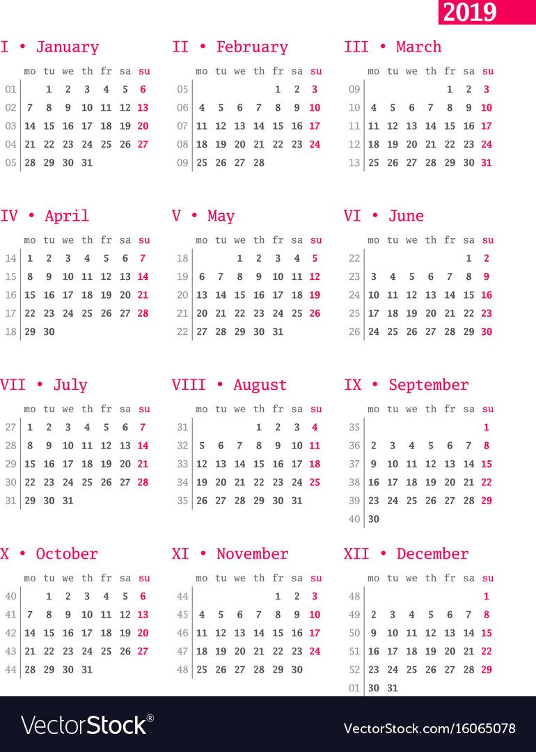 Calendar For 2019 Year With Week Numbers On White Vector Image Calendar Week 40 2019