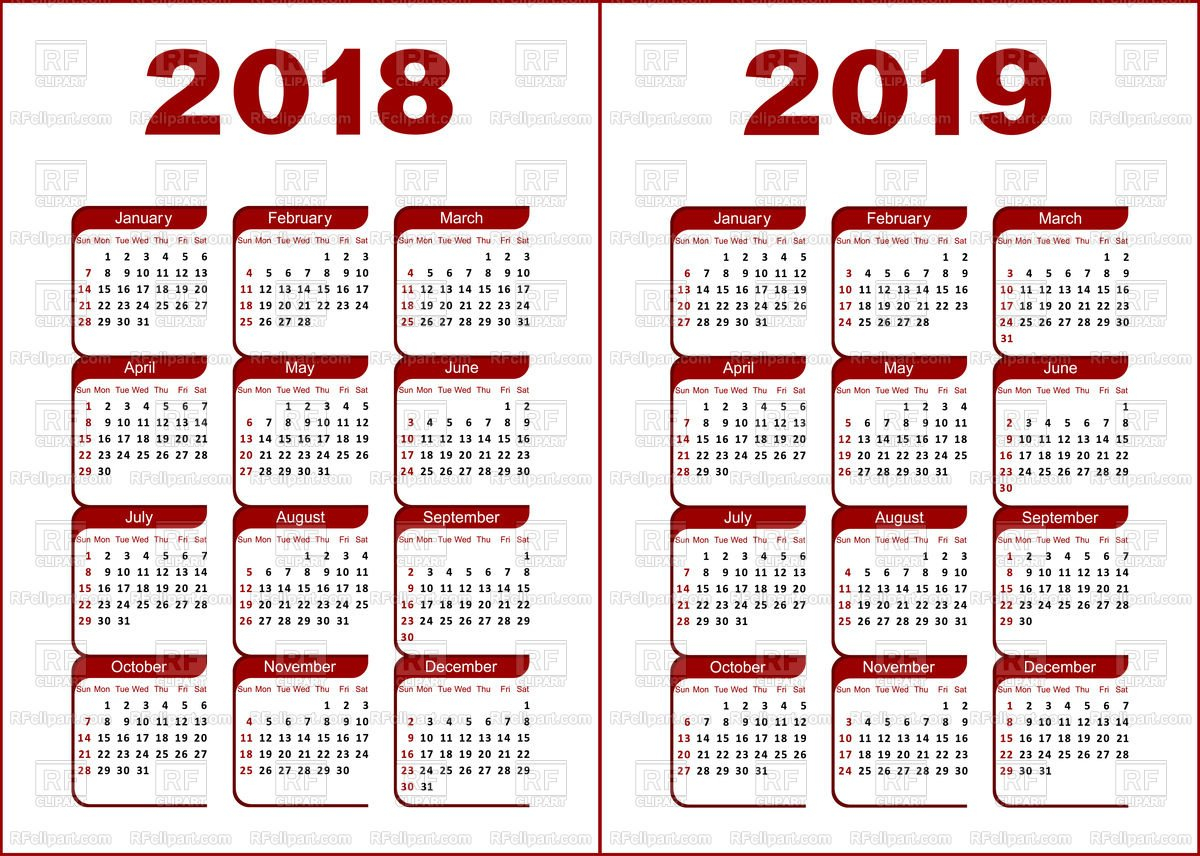 Calendar Grid Layout 2018, 2019 Vector Image Of Calendars, Layouts Calendar 2019 Grid