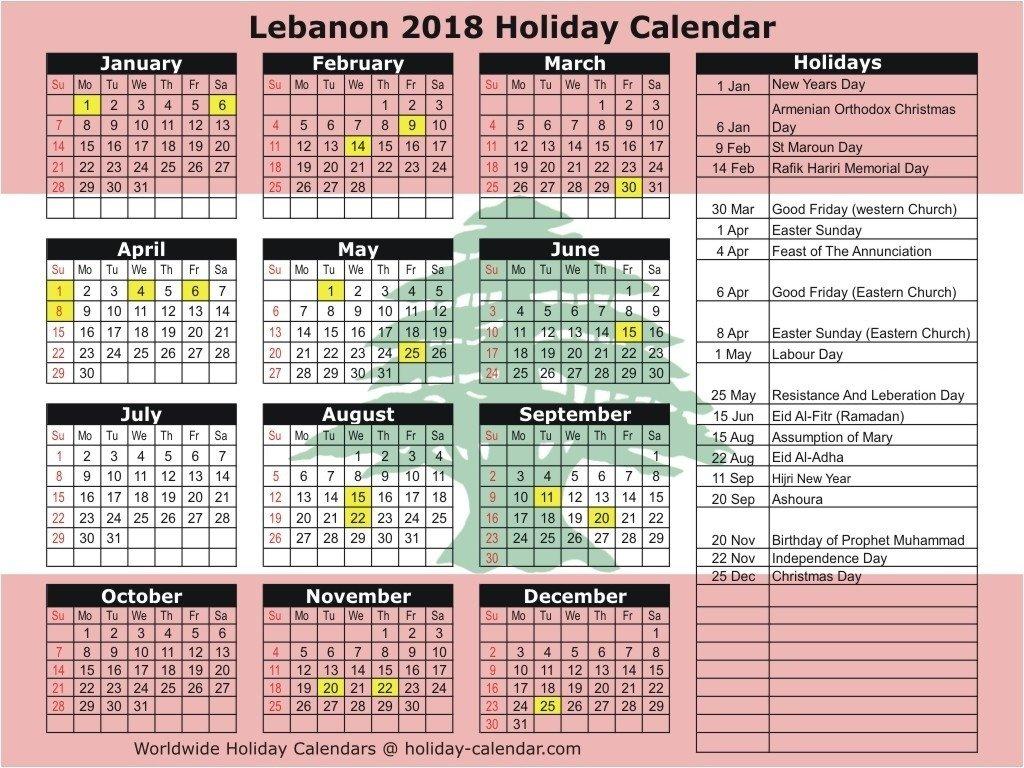 Calendar Holidays Lebanon 2019 • Printable Blank Calendar Template Calendar 2019 Lebanon
