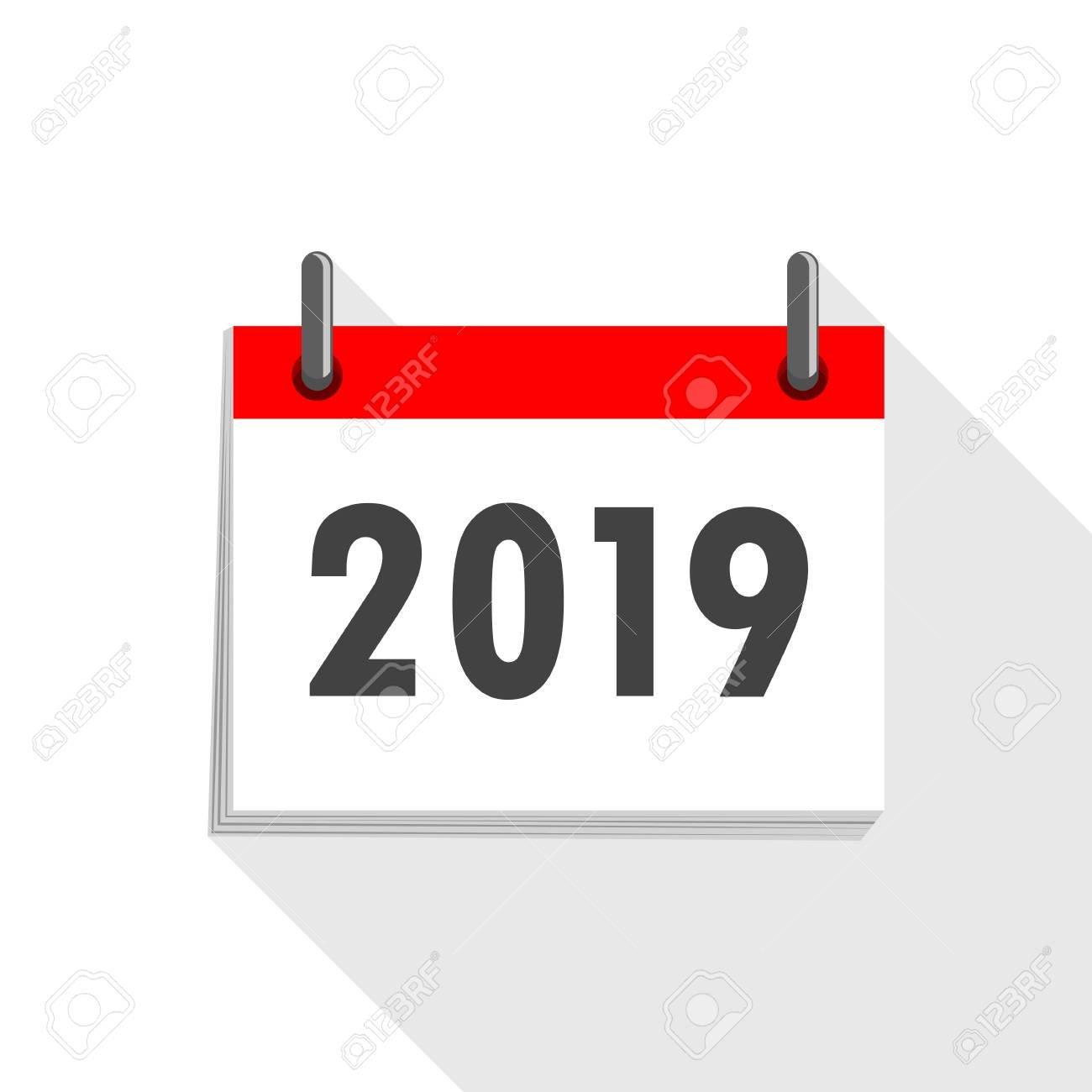 Calendar Icon 2019 In Flat Design. Vector Illustration. Happy Calendar 2019 Logo