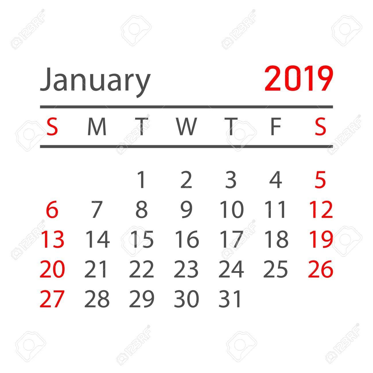 Calendar January 2019 Year In Simple Style. Calendar Planner R 2019 Calendar