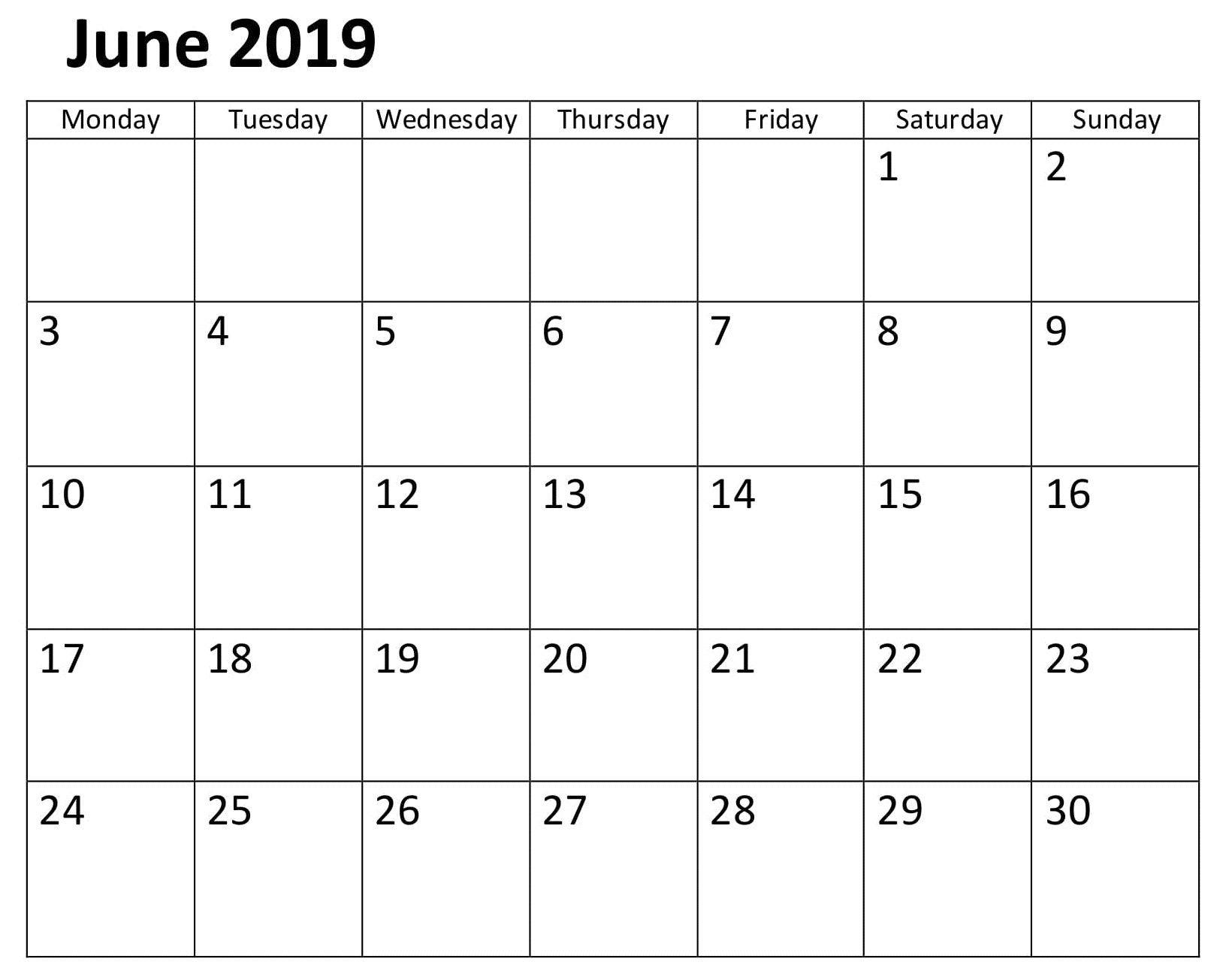 Calendar June 2019 Template Word   Calendar June 2019   Calendar Calendar 2019 Template Word