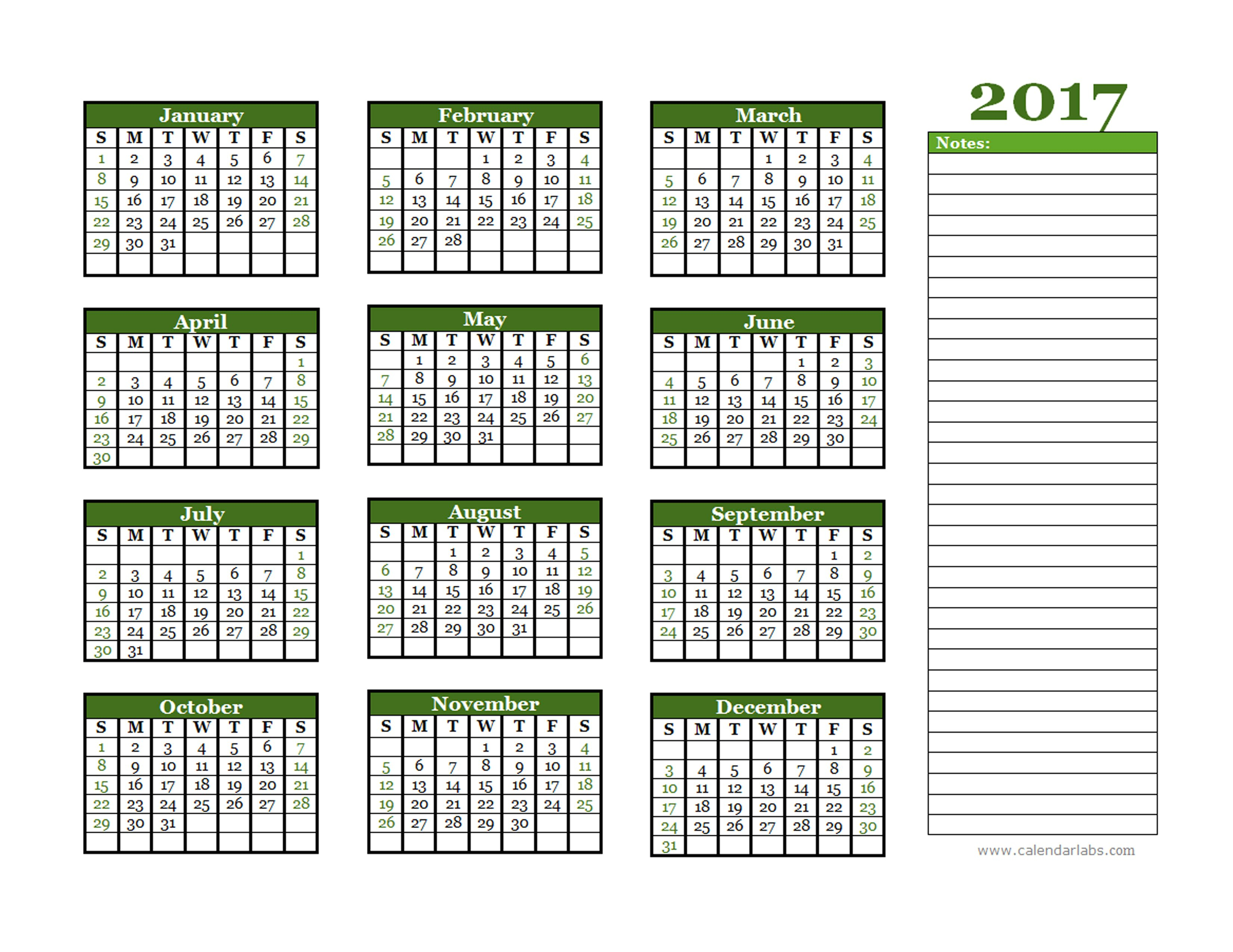 Calendar Labs 2019 2017 Yearly Calendar With Blank Notes Free 2019 Calendar 4 4 5