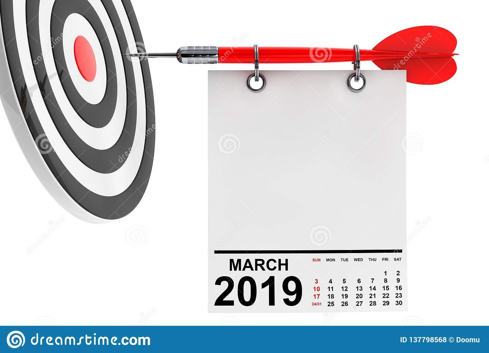 Calendar March 2019 With Target. 3D Rendering Stock Illustration Calendar 2019 At Target