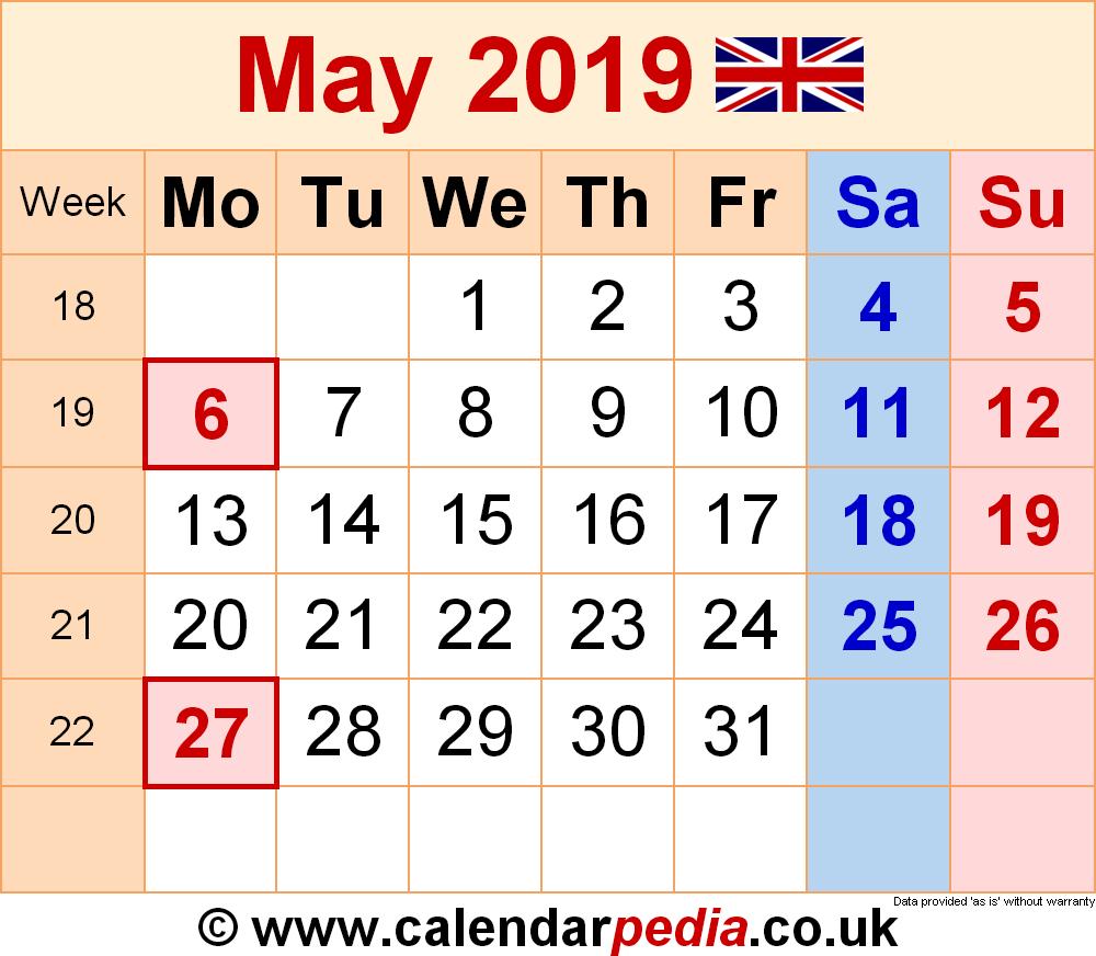 Calendar May 2019 Uk, Bank Holidays, Excel/pdf/word Templates Calendar 2019 England