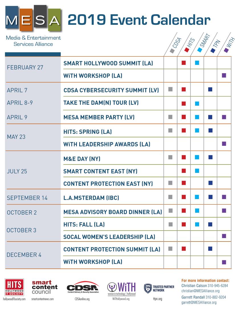 Calendar – Media & Entertainment Services Alliance Calendar 2019 Of Events