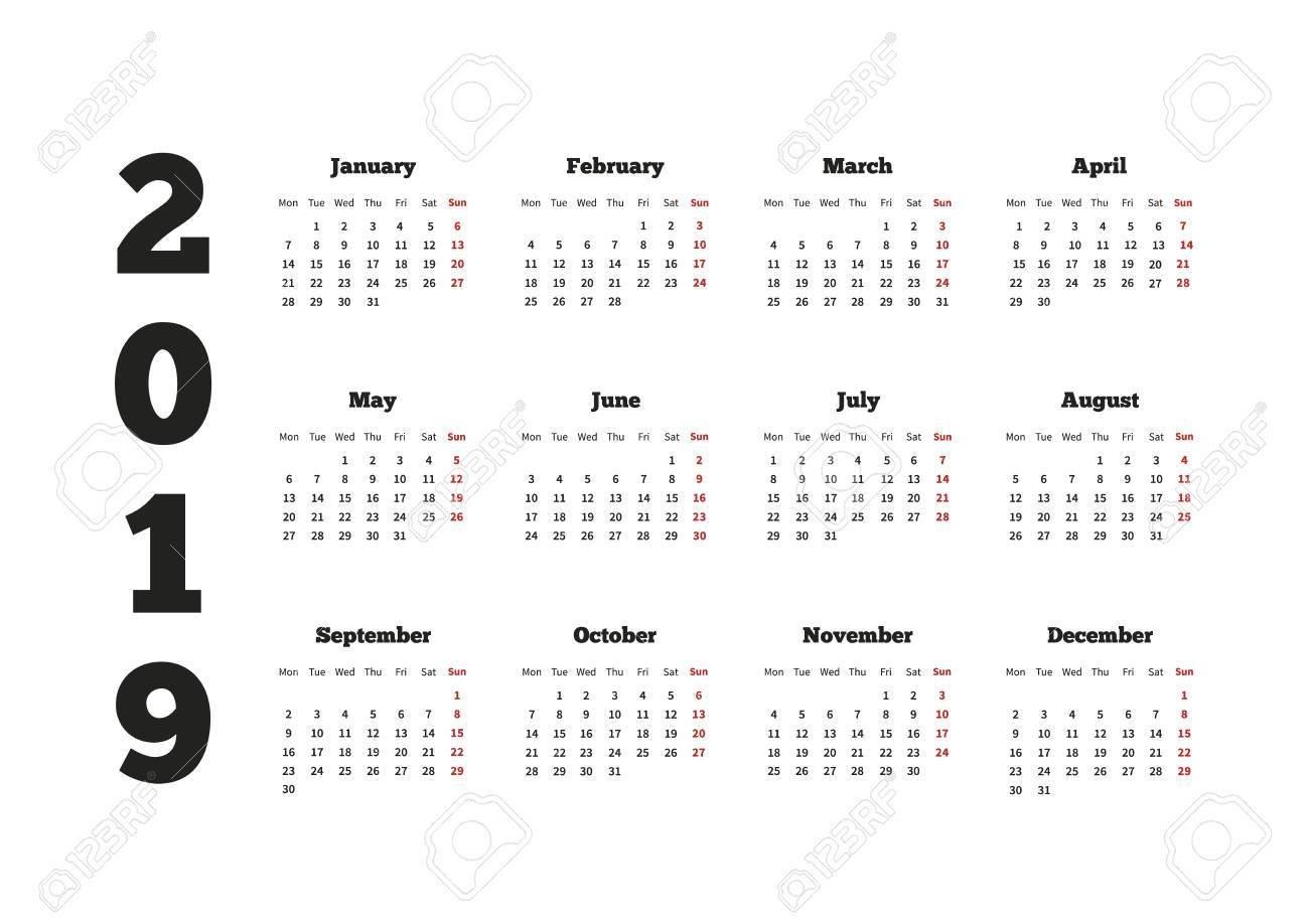 Calendar On 2019 Year With Week Starting From Monday, A4 Horizontal Calendar 2019 Horizontal