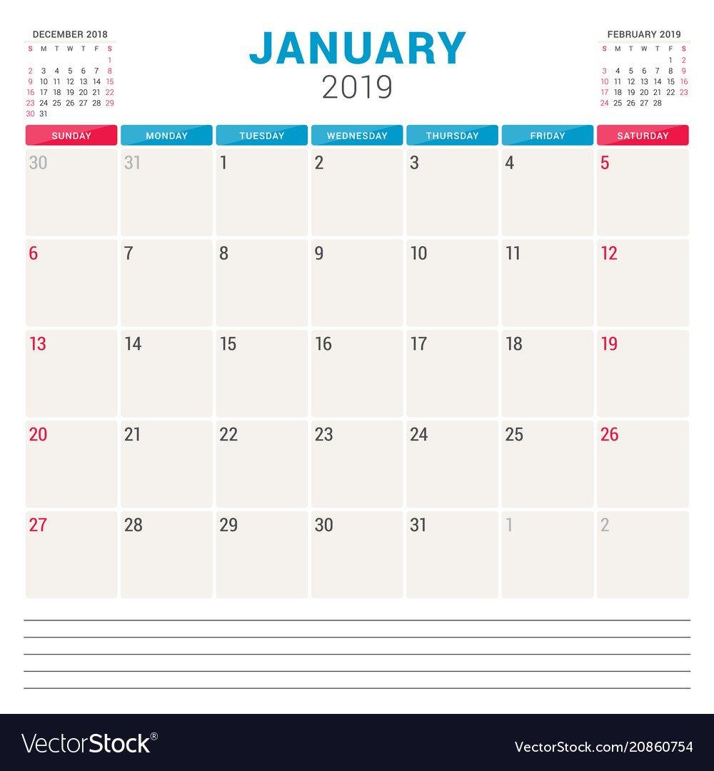 Calendar Planner For January 2019 Week Starts On Vector Image Calendar 2019 Planner