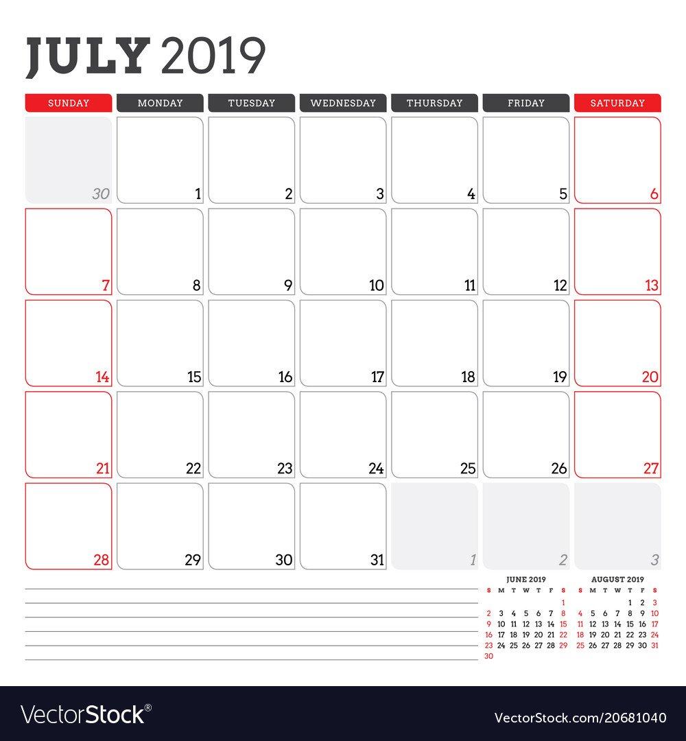 Calendar Planner For July 2019 Week Starts On Vector Image Calendar 2019 Planner