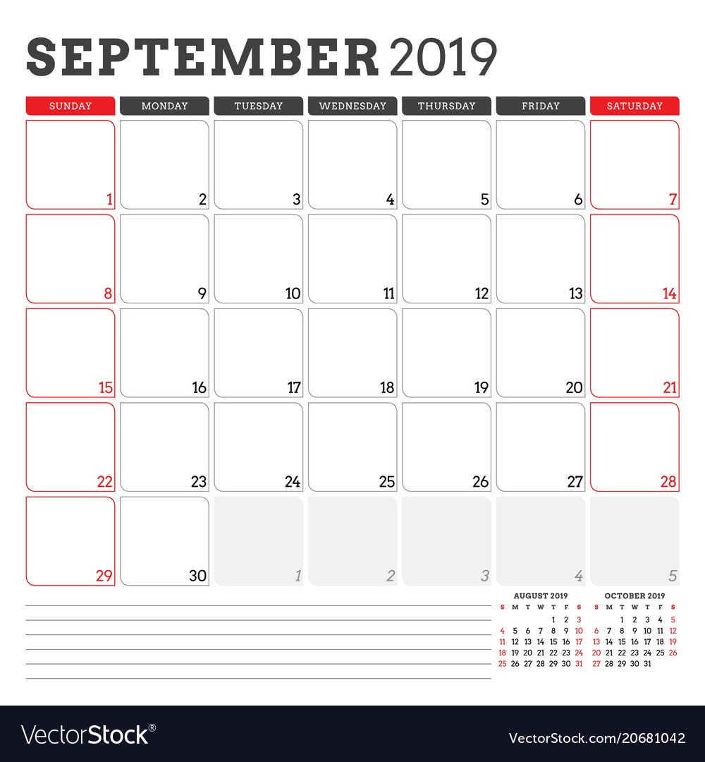 Calendar Planner For September 2019 Week Starts Calendar Week 42 2019