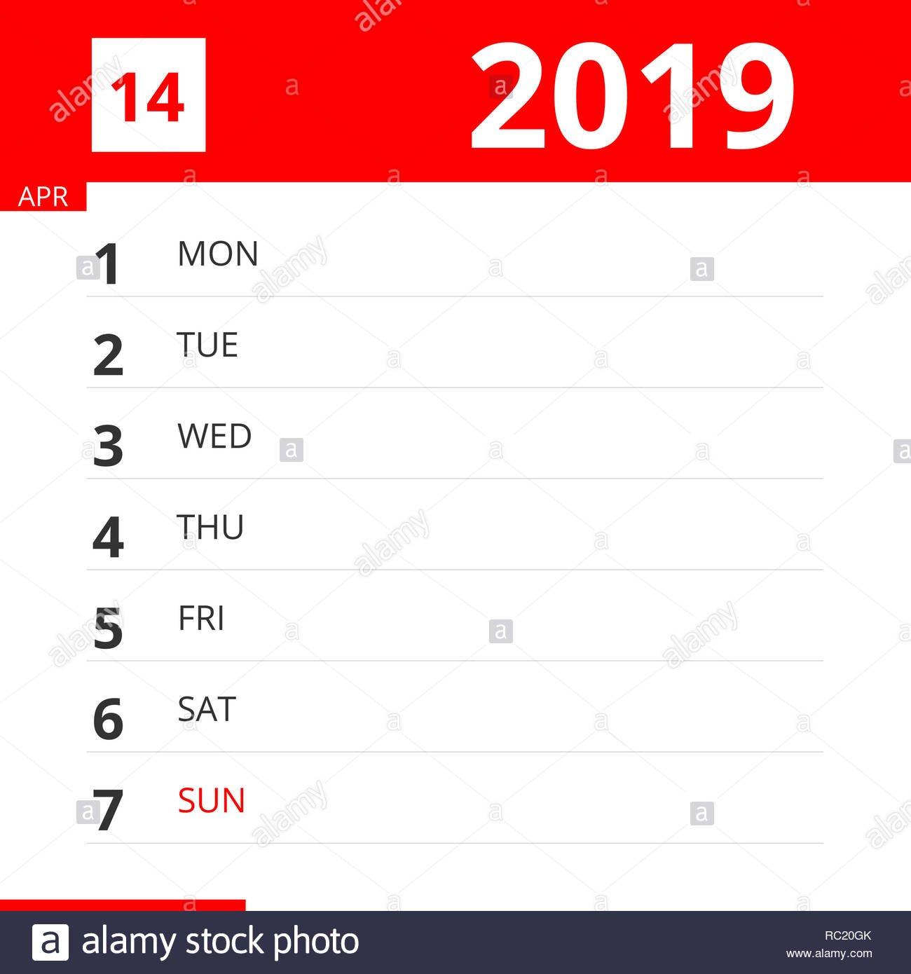 Calendar Planner For Week 14 In 2019, Ends April 7, 2019 Stock Photo Calendar Week 14 2019