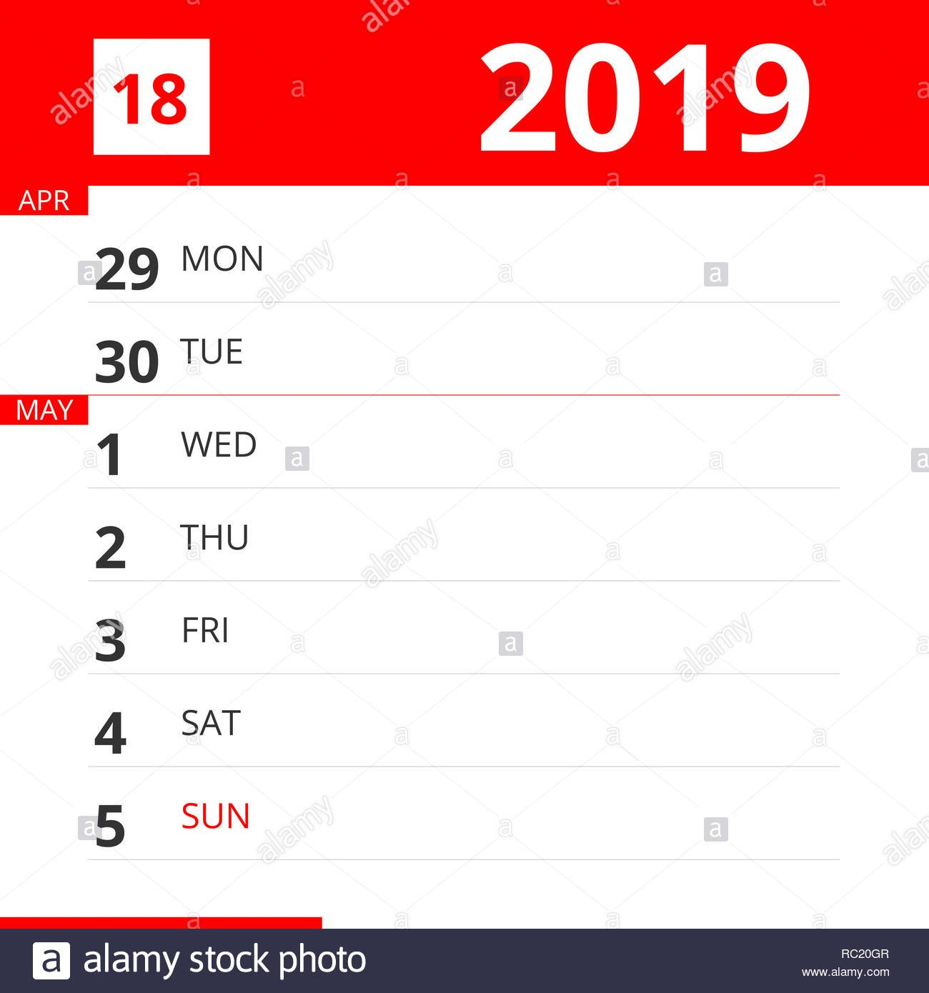 Calendar Planner For Week 18 In 2019, Ends May 5, 2019 Stock Photo Calendar May 5Th 2019