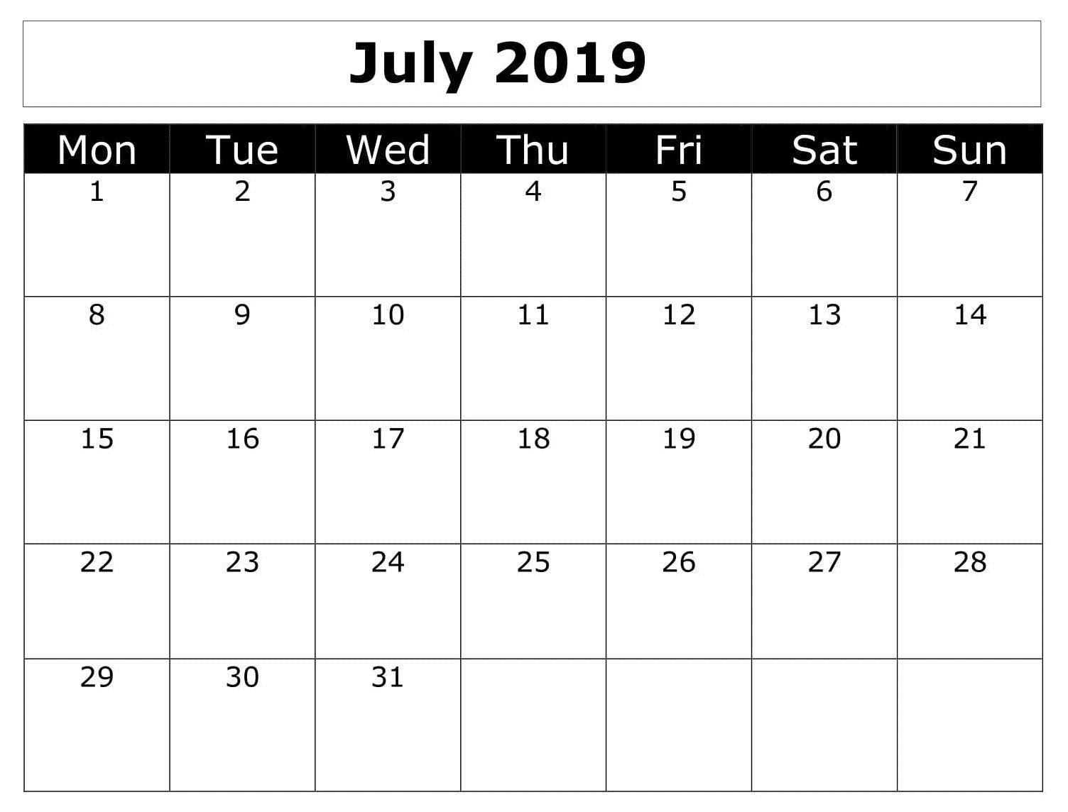Calendar Printable July 2019 Word | Calendar July 2019 | July Calendar 2019 Word