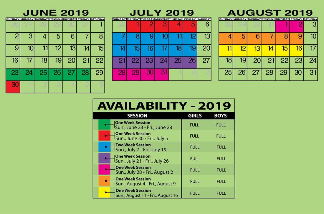 Calendar / Rates | Camp Downer Calendar 2019 Rates