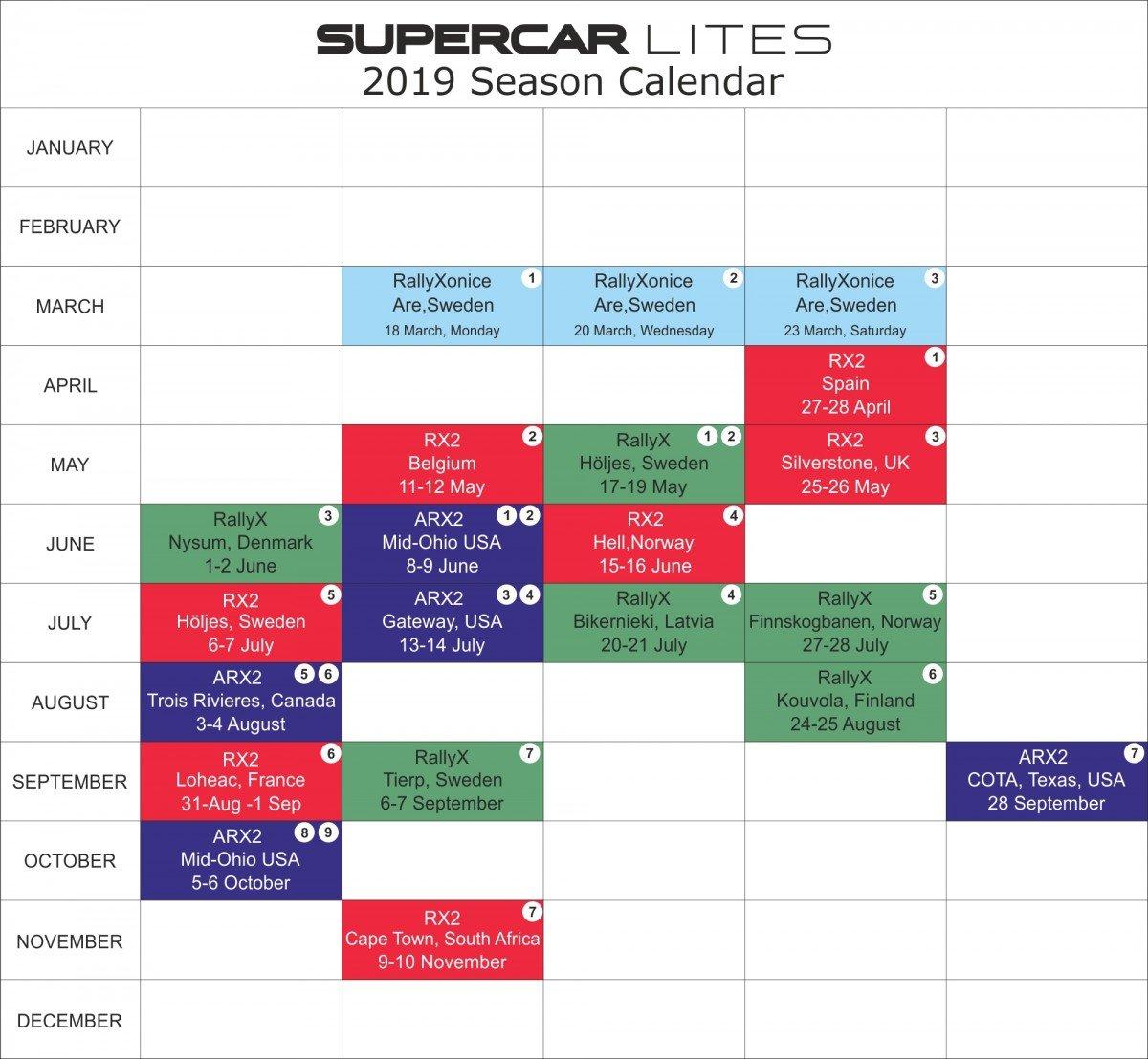 Calendar | Supercarlites Rally X Calendar 2019