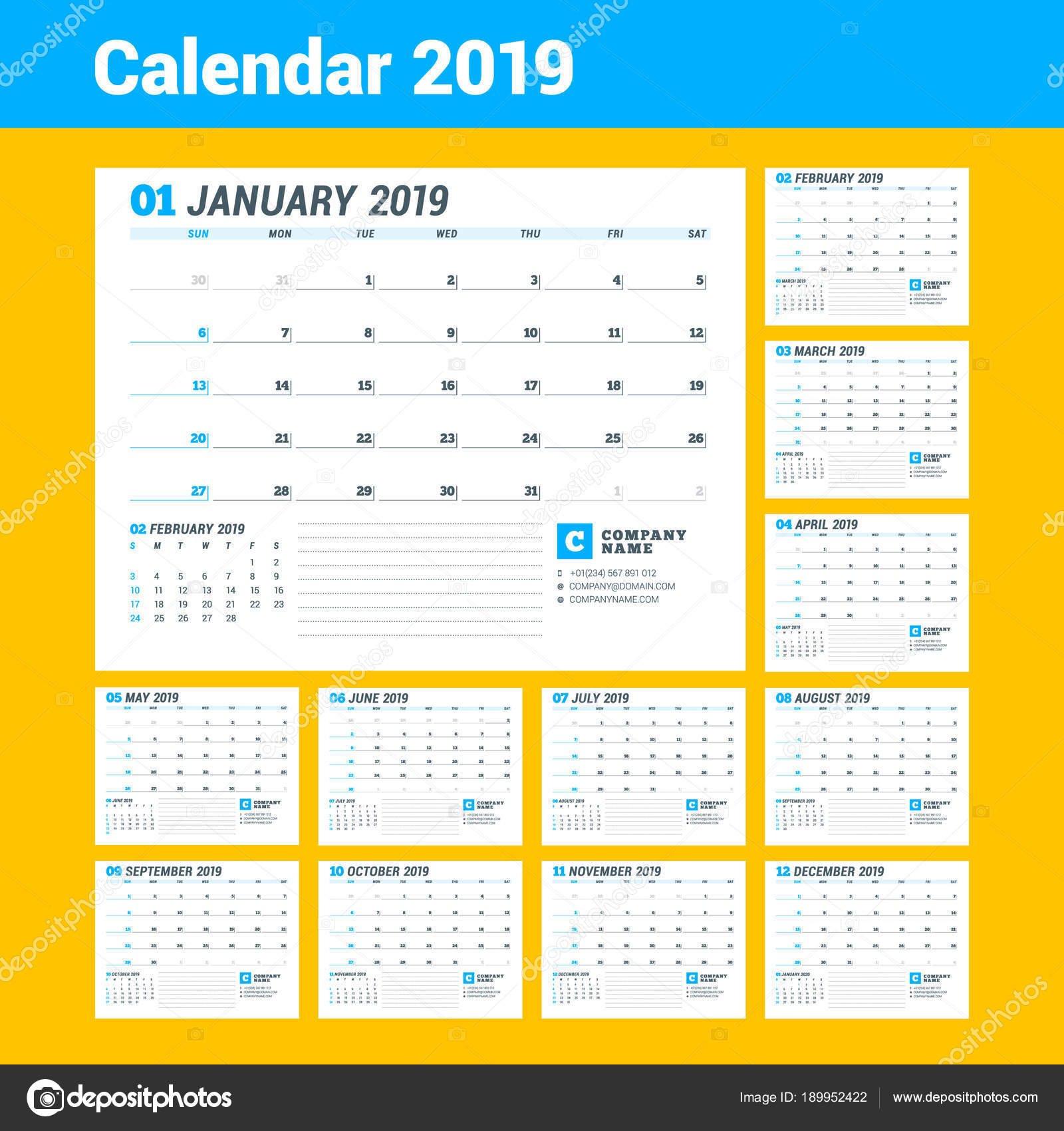 Calendar Template For 2019 Year. Business Planner. Stationery Design Calendar 2019 For Business