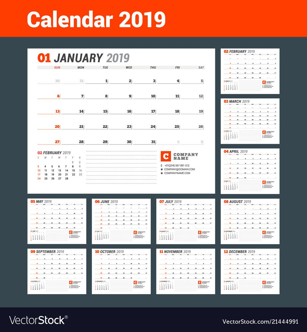 Calendar Template For 2019 Year Business Planner Vector Image Calendar 2019 For Business