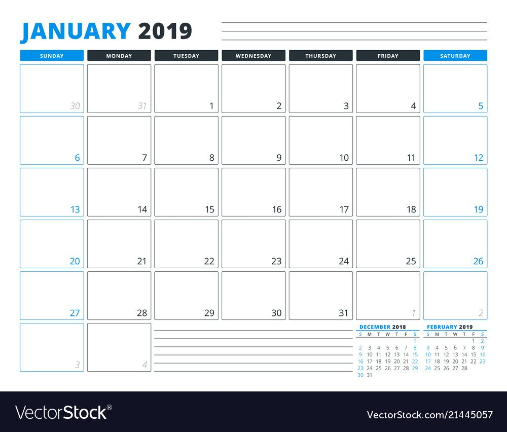 Calendar Template For January 2019 Business Vector Image Calendar 2019 For Business