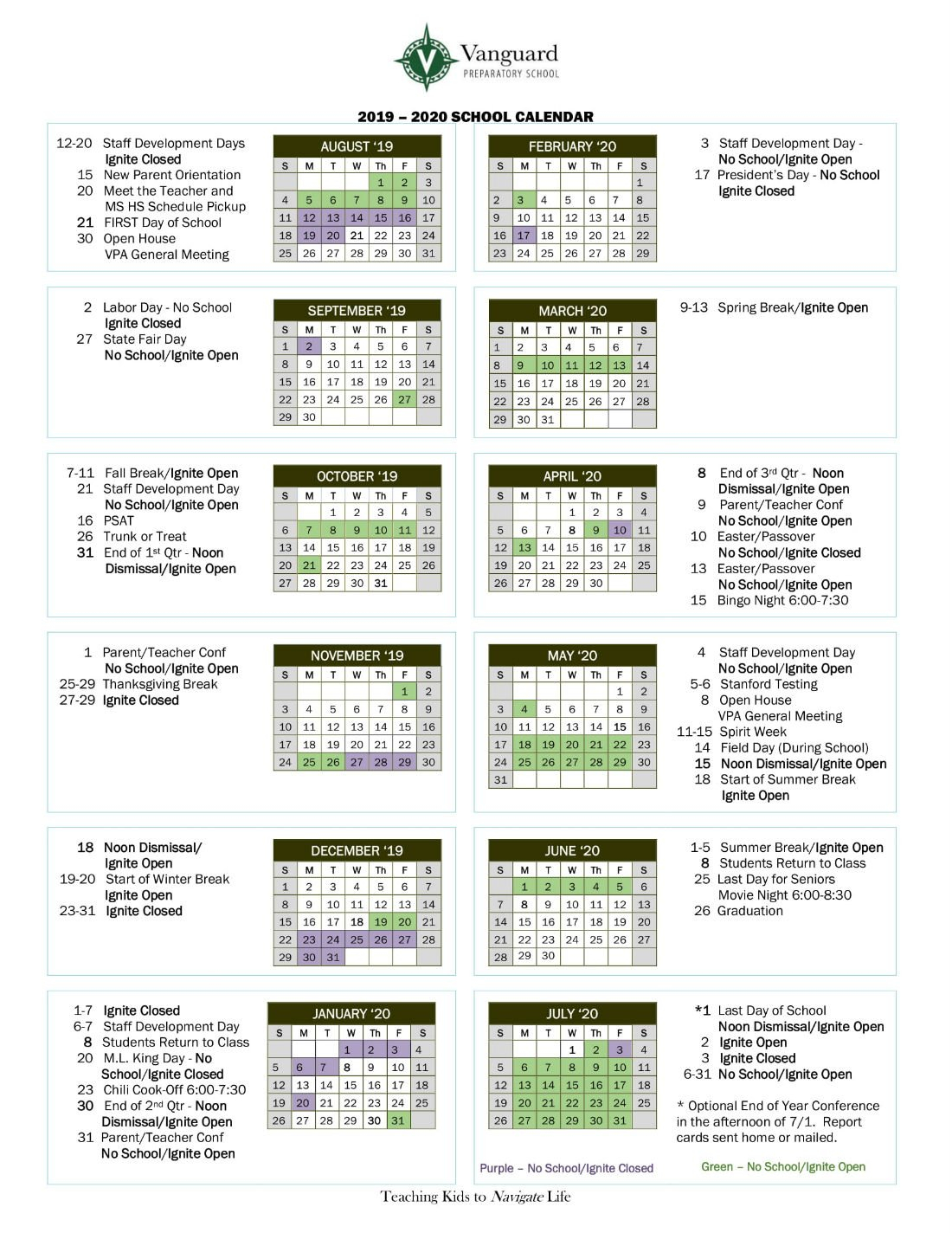Calendar   Vanguard Preparatory School M State Calendar 2019