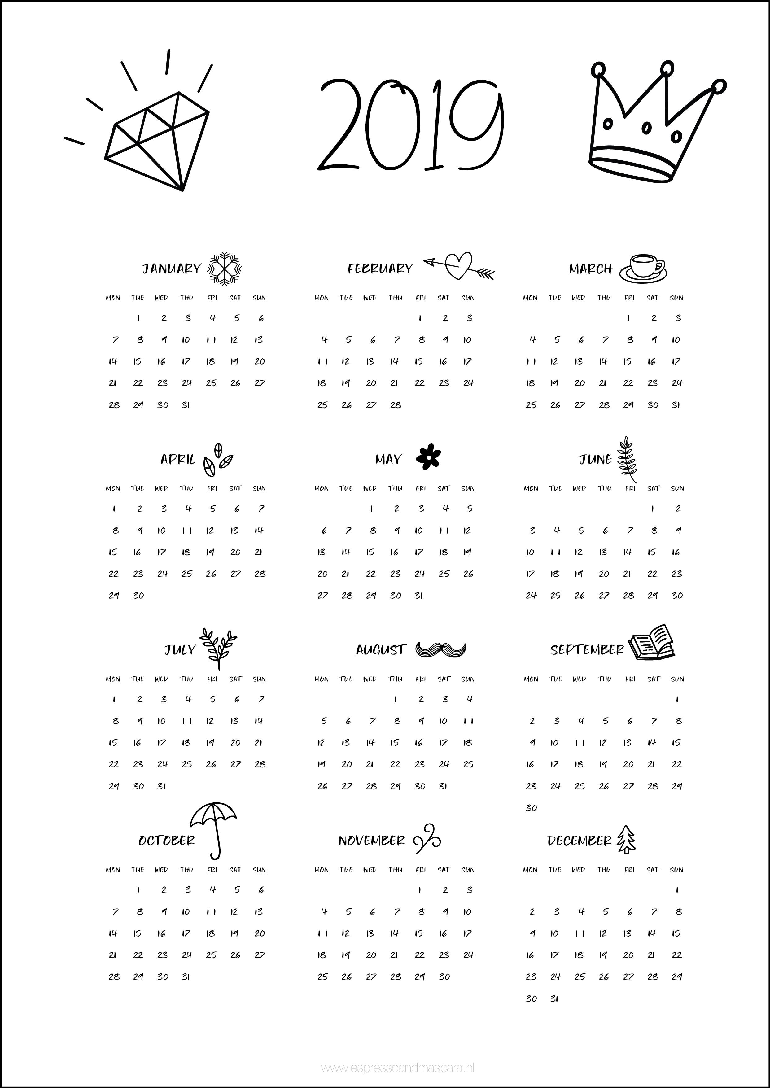 Calendars 2019 – Free Download   Insta   Pinterest   Calendar, 2019 Calendar 2019 Free