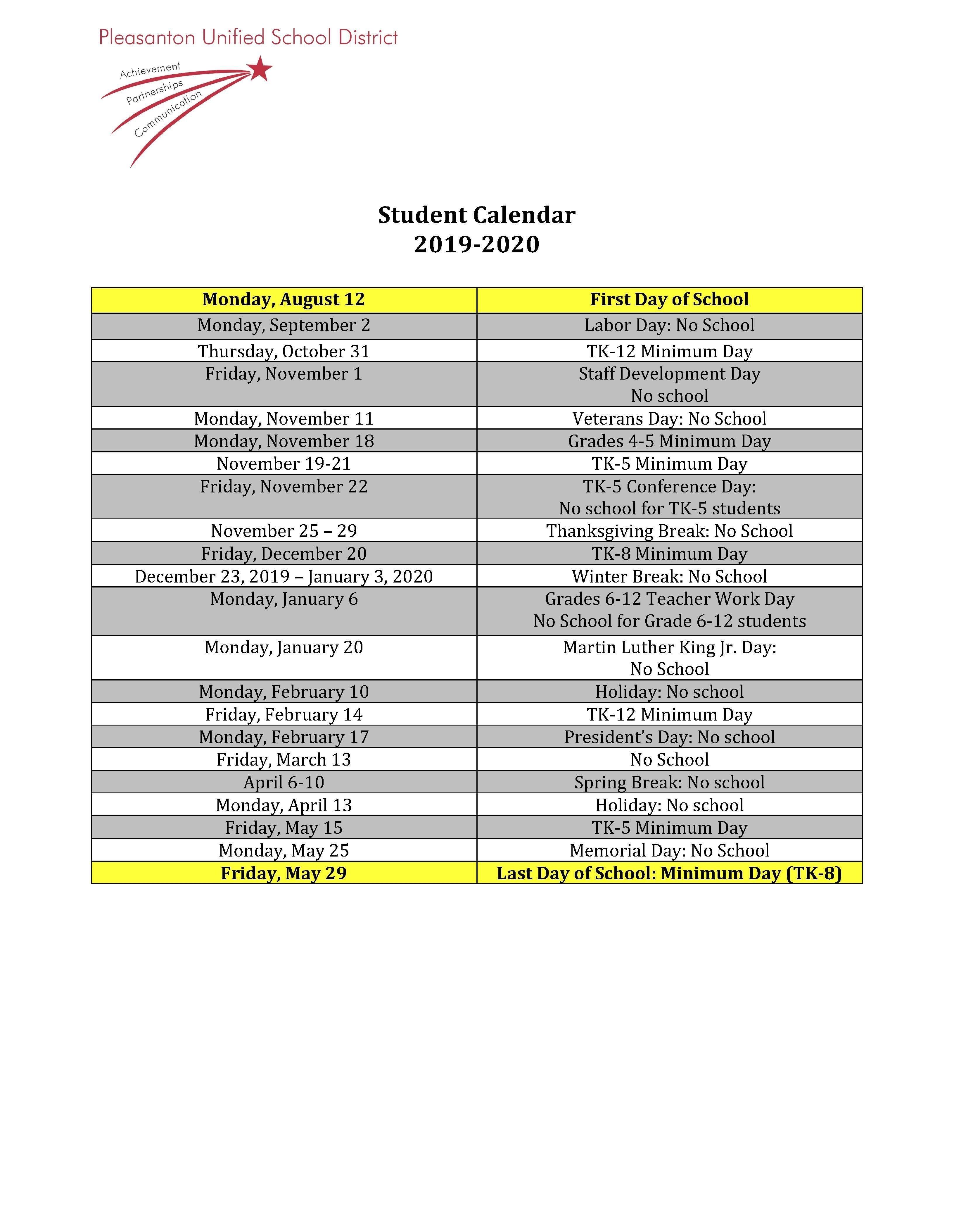 Calendars – Miscellaneous – Pleasanton Unified School District U Of U Of A Calendar 2019