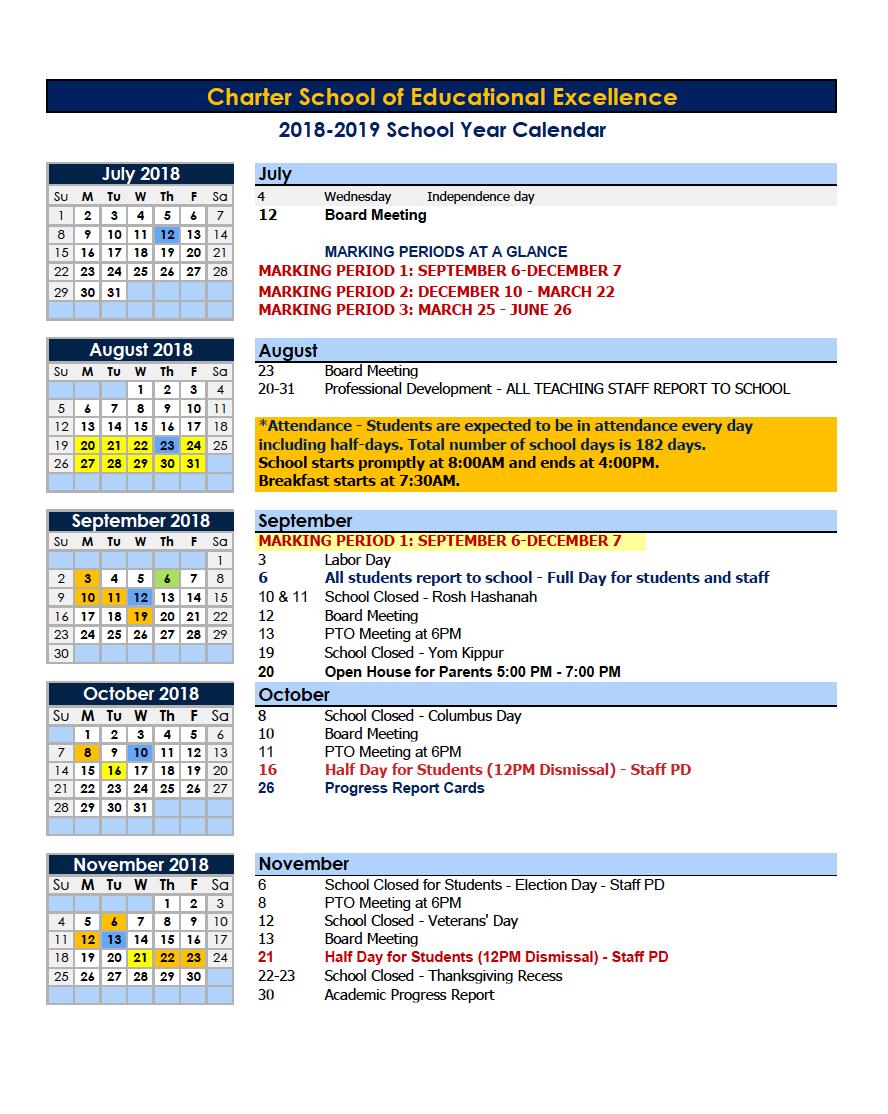 Calendars – Parents – Charter School Of Educational Excellence Calendar 2019 Nyc