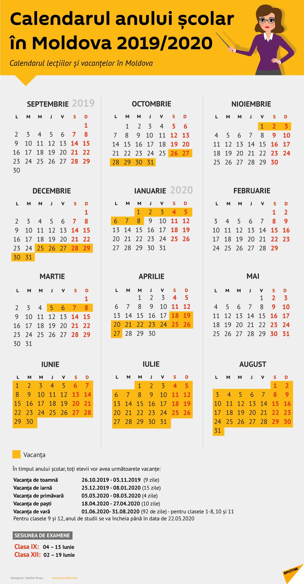 Calendarul Lecțiilor Și Vacanțelor: Anul Școlar 2019 2020 Calendar Scolar 2019 Clasa 8