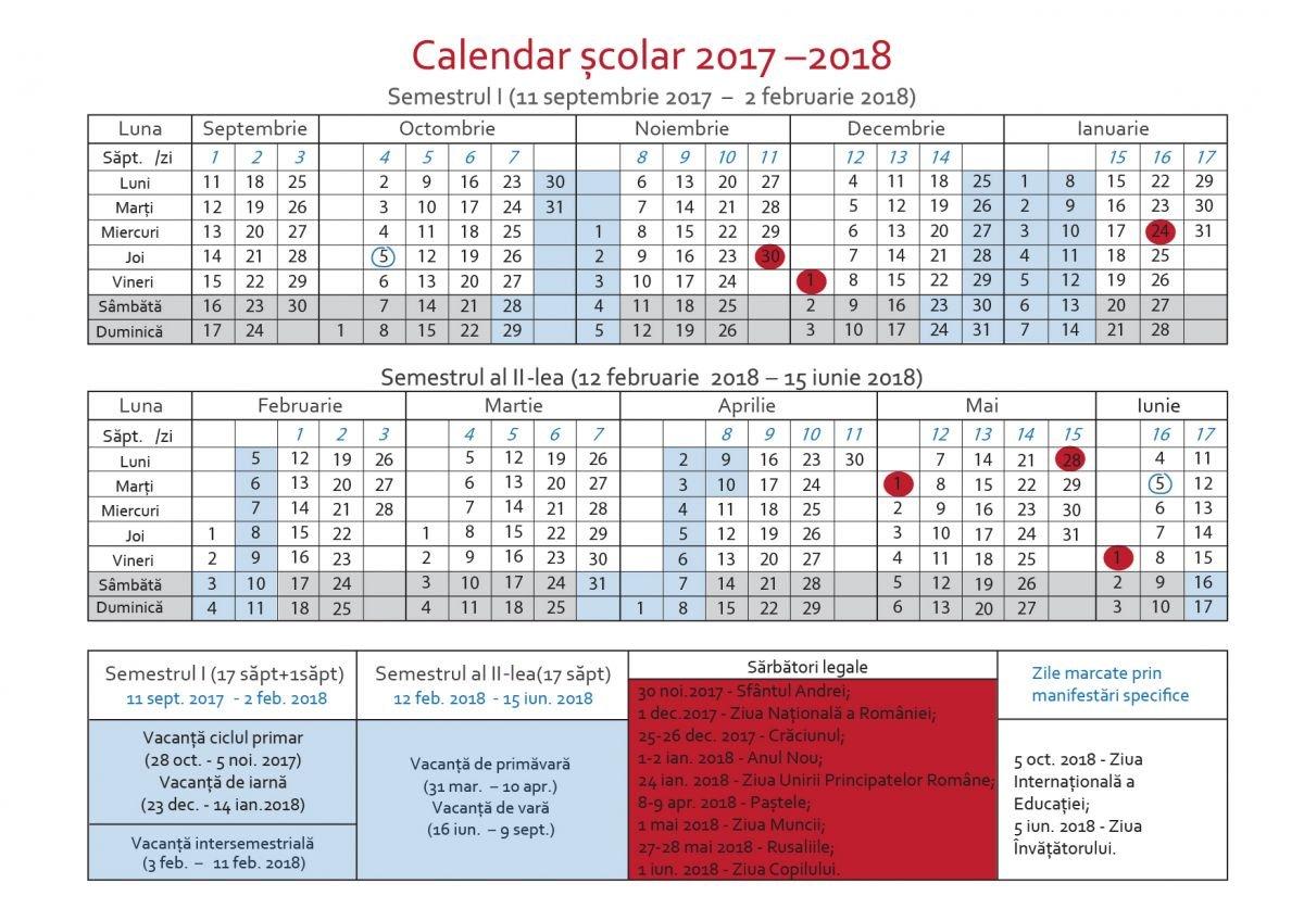 Calendarul Pentru Anul Școlar 2017 2018. Când Sunt Vacanțele, Zilele Calendar Scolar 2019 Clasa 8
