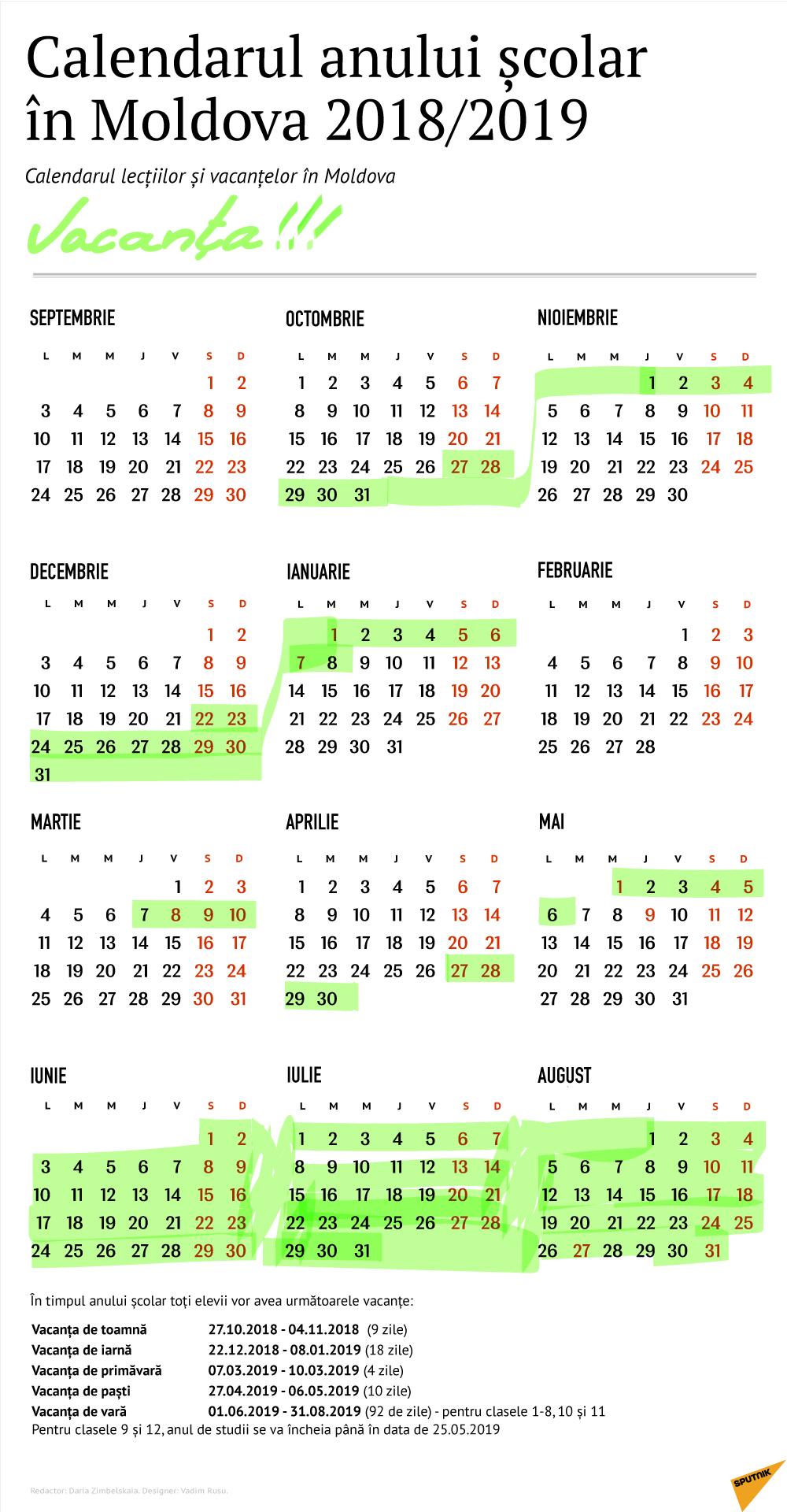 Calendarul Vacanțelor În Anul Școlar 2018 – 2019 Calendar Scolar 2019 Clasa 8