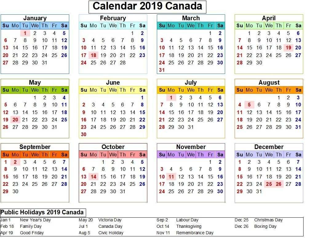 Canada 2019 Calendar With Holiday Colorful. | Calendar 2019 | Free Calendar 2019 Canada