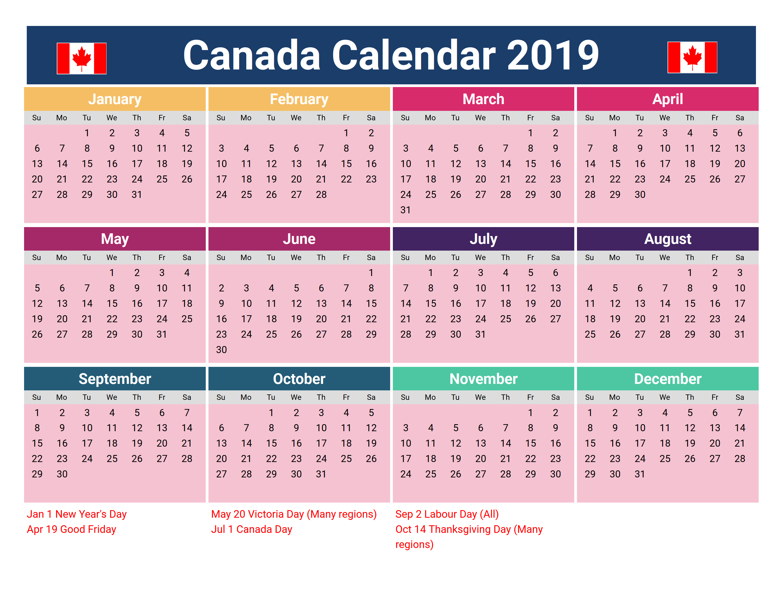 Canada 2019 Holidays Printable Calendar   2019 Calendars   Holiday Calendar 2019 Canada