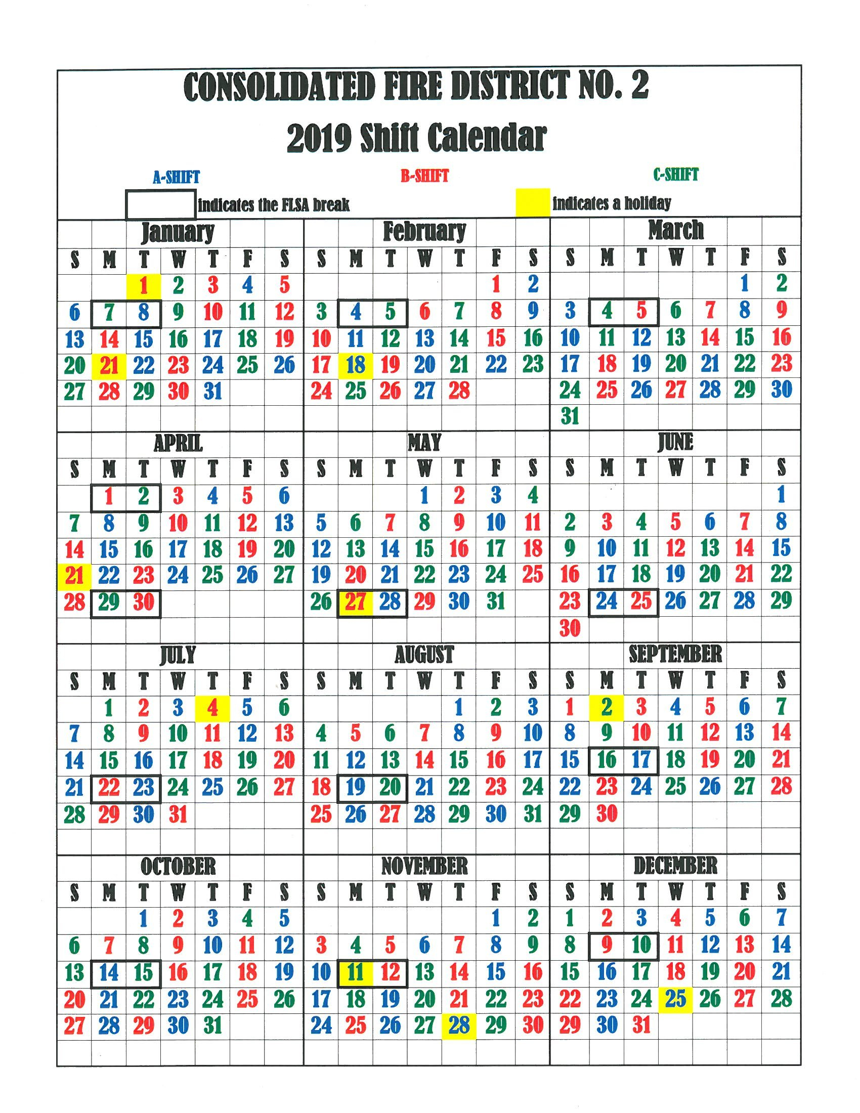 Cfd2 Shift Calendar – Consolidated Fire District #2 2/2019 Calendar