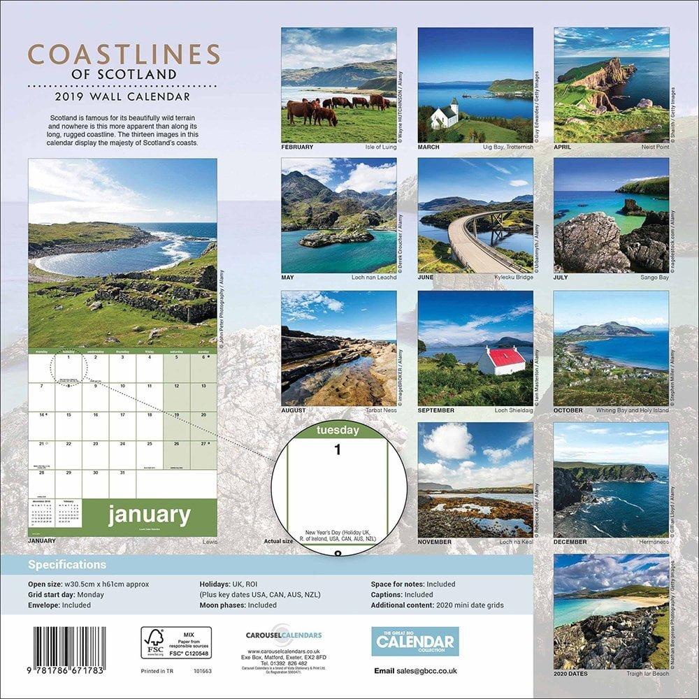 Coastlines Of Scotland 2019 Calendar 101663 Calendar 2019 Scotland