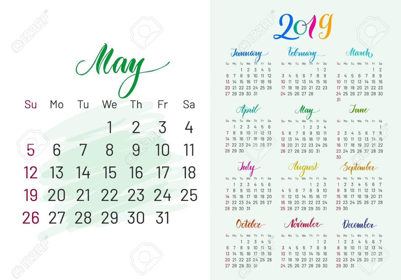 Colorful Calendar Planner For May 2019 And Full 2019. Royalty Free May 8 2019 Calendar