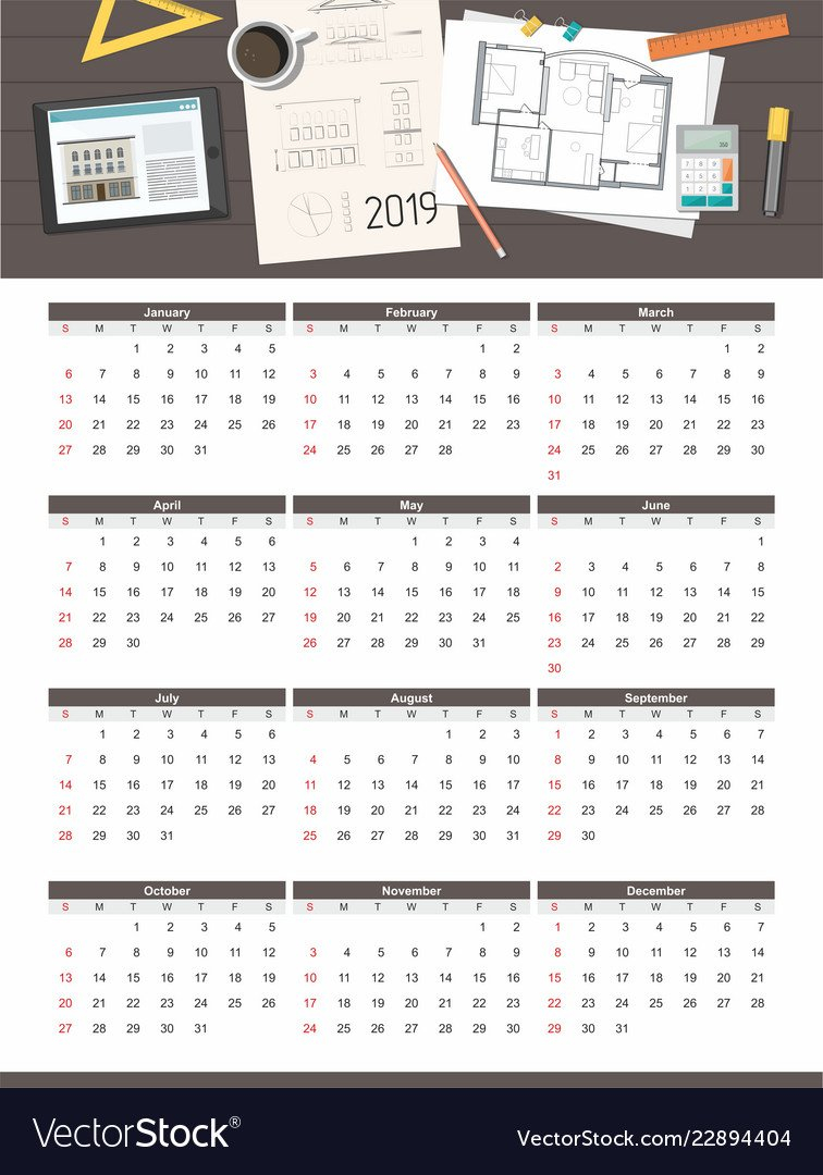 Construction Project House Plan Calendar 2019 Calendar 2019 House