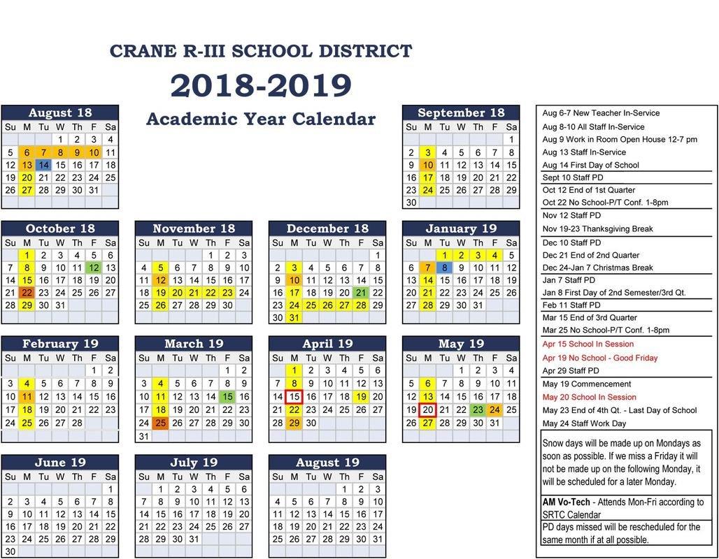 Crane 2018 2019 School Calendar – Ccscr News R 2019 Calendar