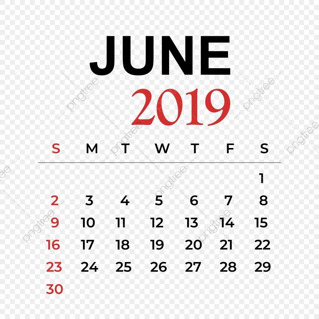 В Июне Месяце 2019 Календарь Календарь Вектор Год Png И Вектор Для June 9 2019 Calendar