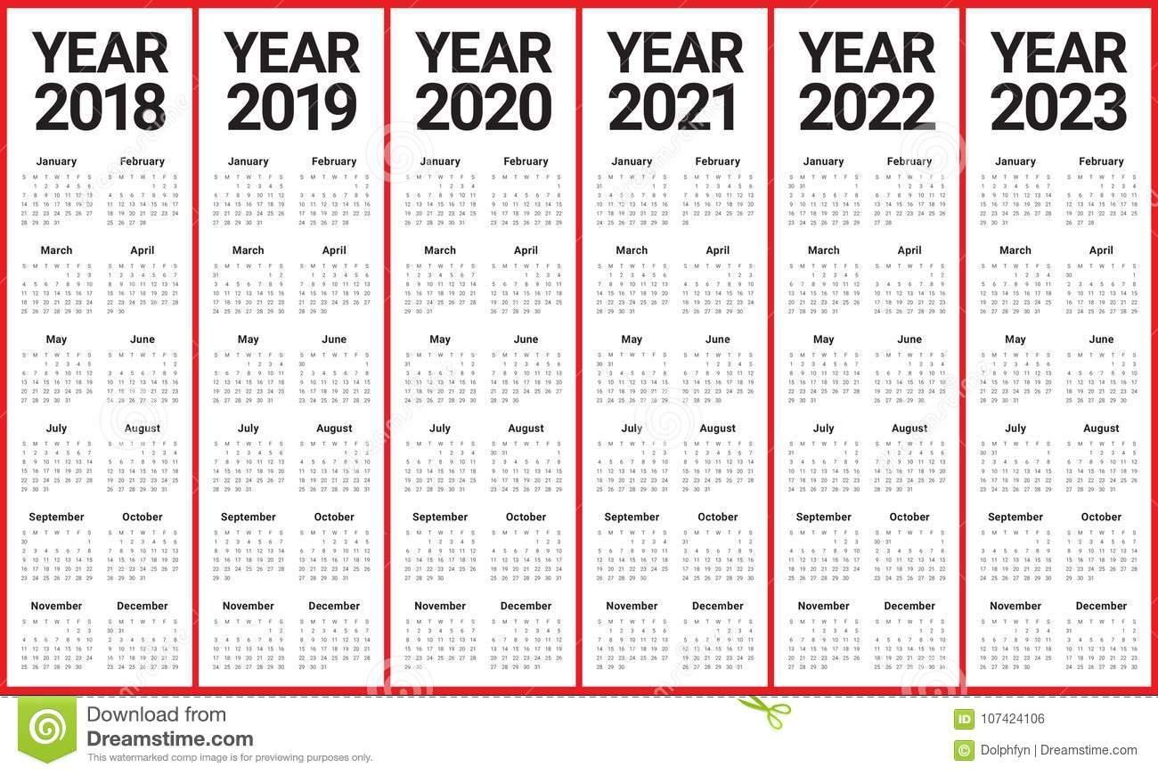 Год 2018 2019 2020 2021 2022 2023 Calendar Вектор Иллюстрация 5 Year Calendar 2019 To 2023 Printable